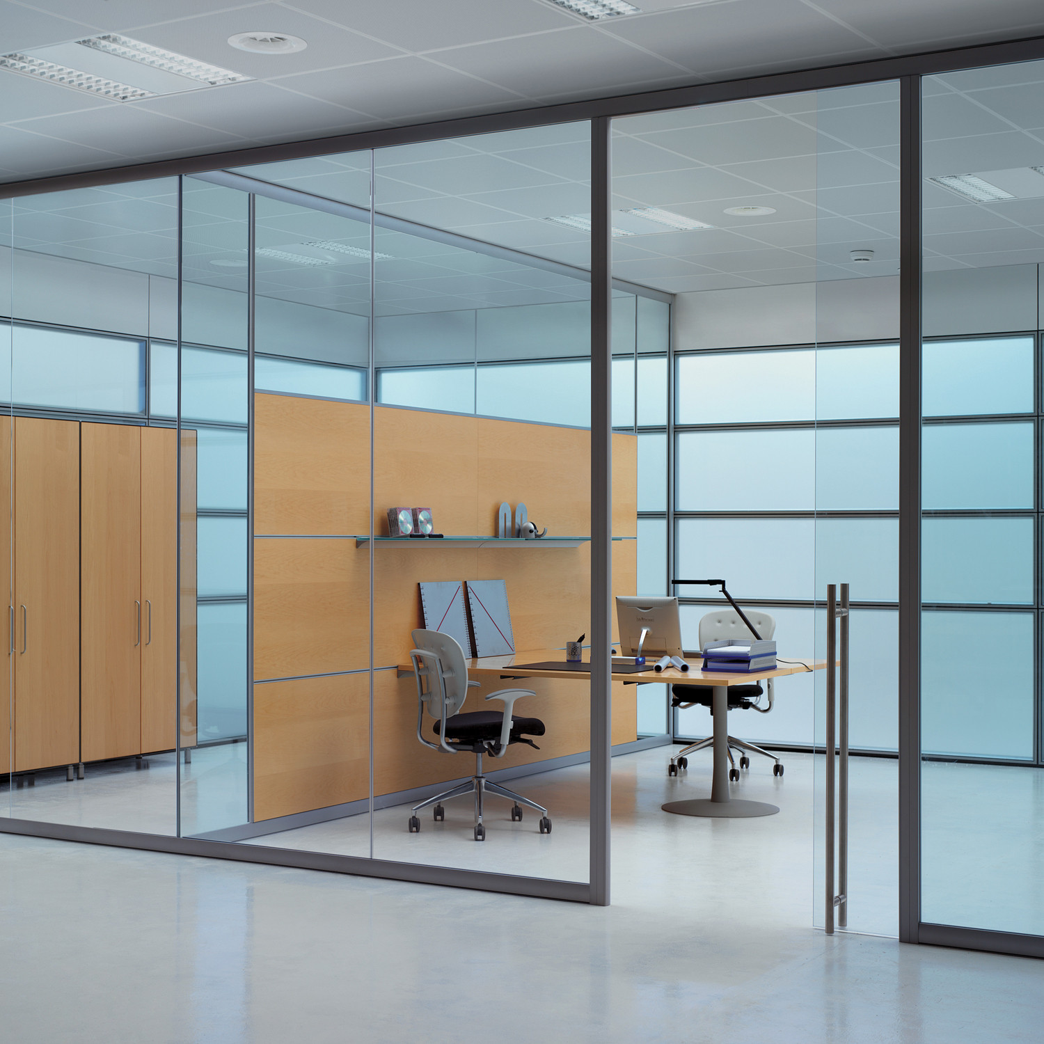 Areaplan Kristal Partitions + Glass Shelves + Worktop