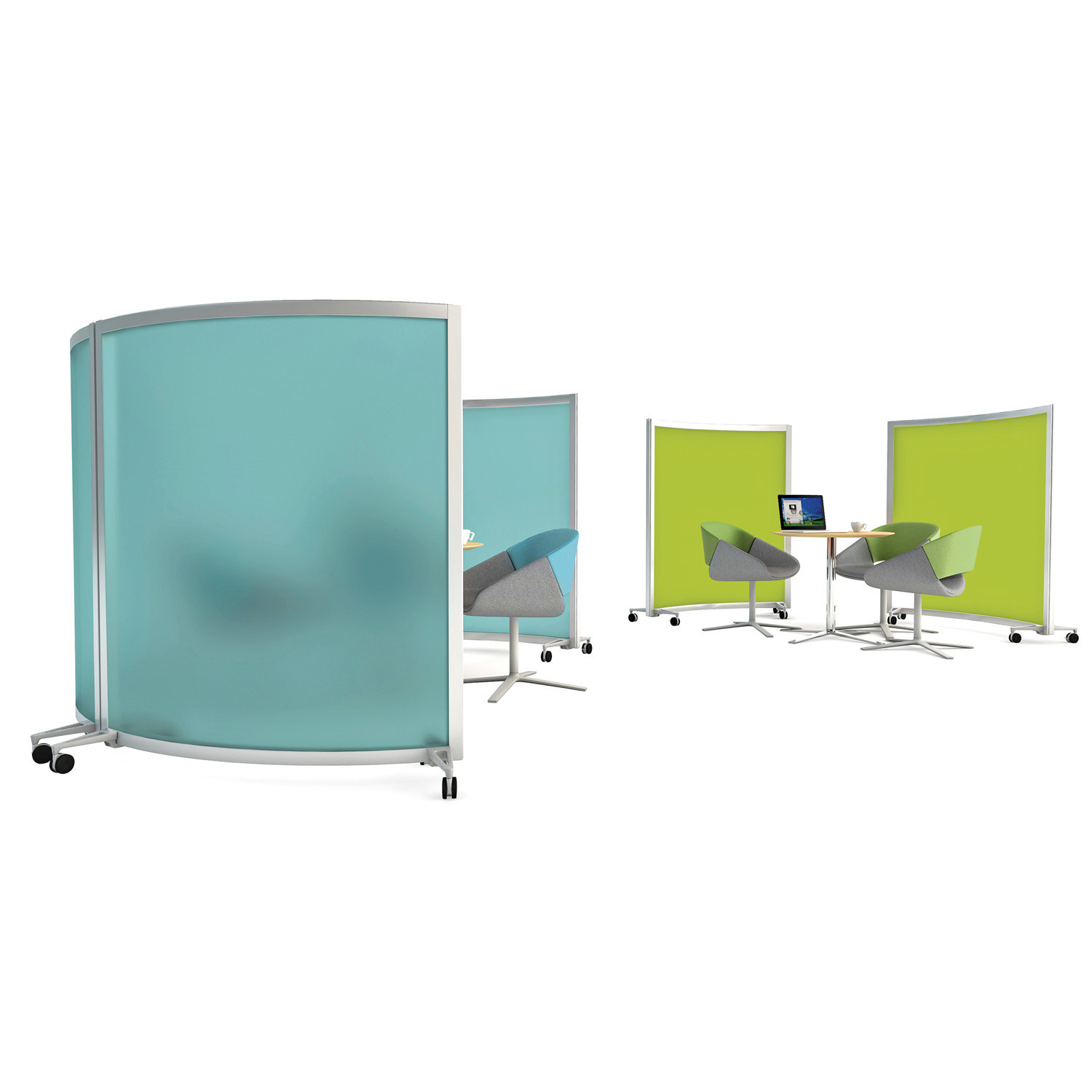Acrylic and upholstered curved screens
