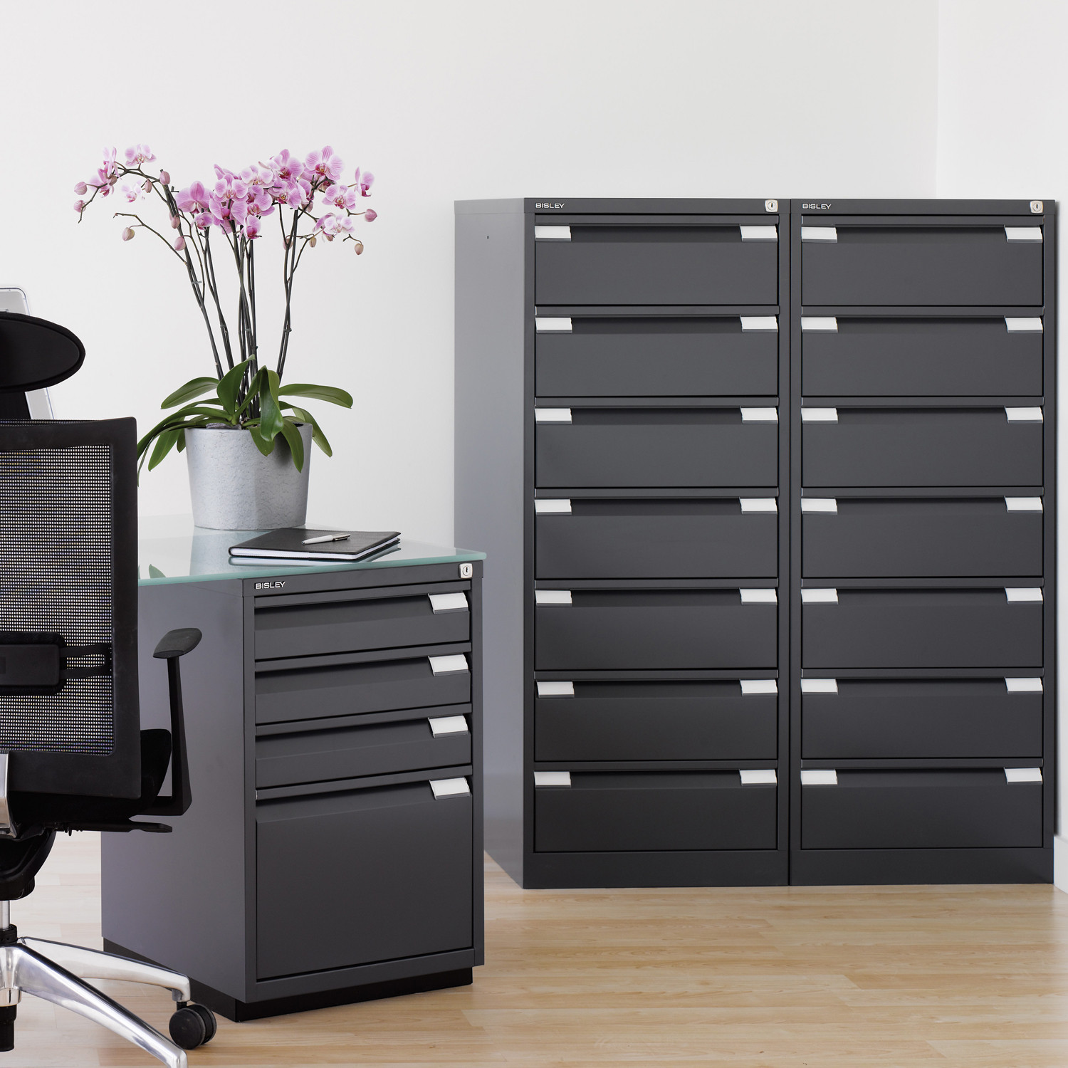 Card Filing Media Cabinets in  Black