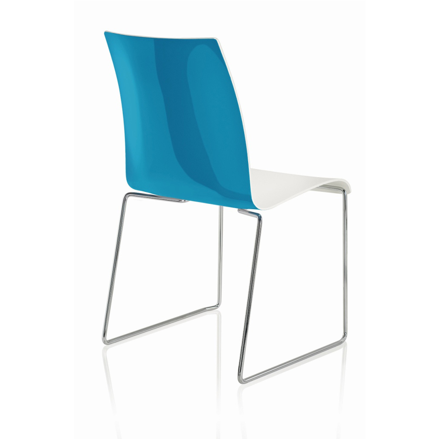 Fina Plastic Chair in Two-Colour Design: high gloss back and matt white inside