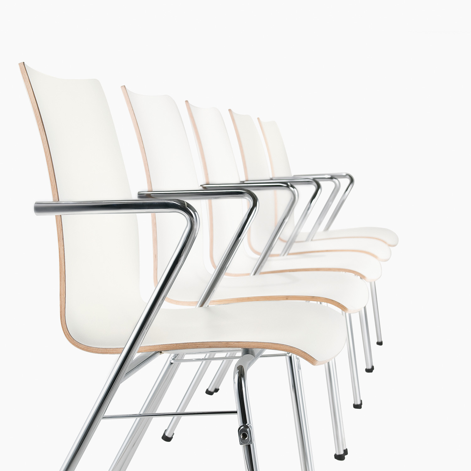 Tool 2 Chairs with hygienic metal finish armrests