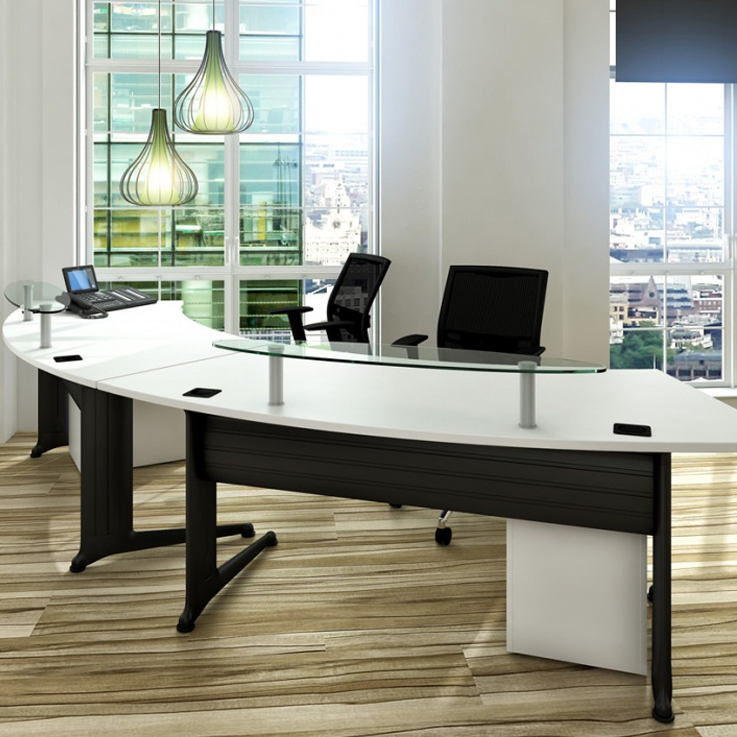 Kassini Dual Reception Desks with glass reception shelves