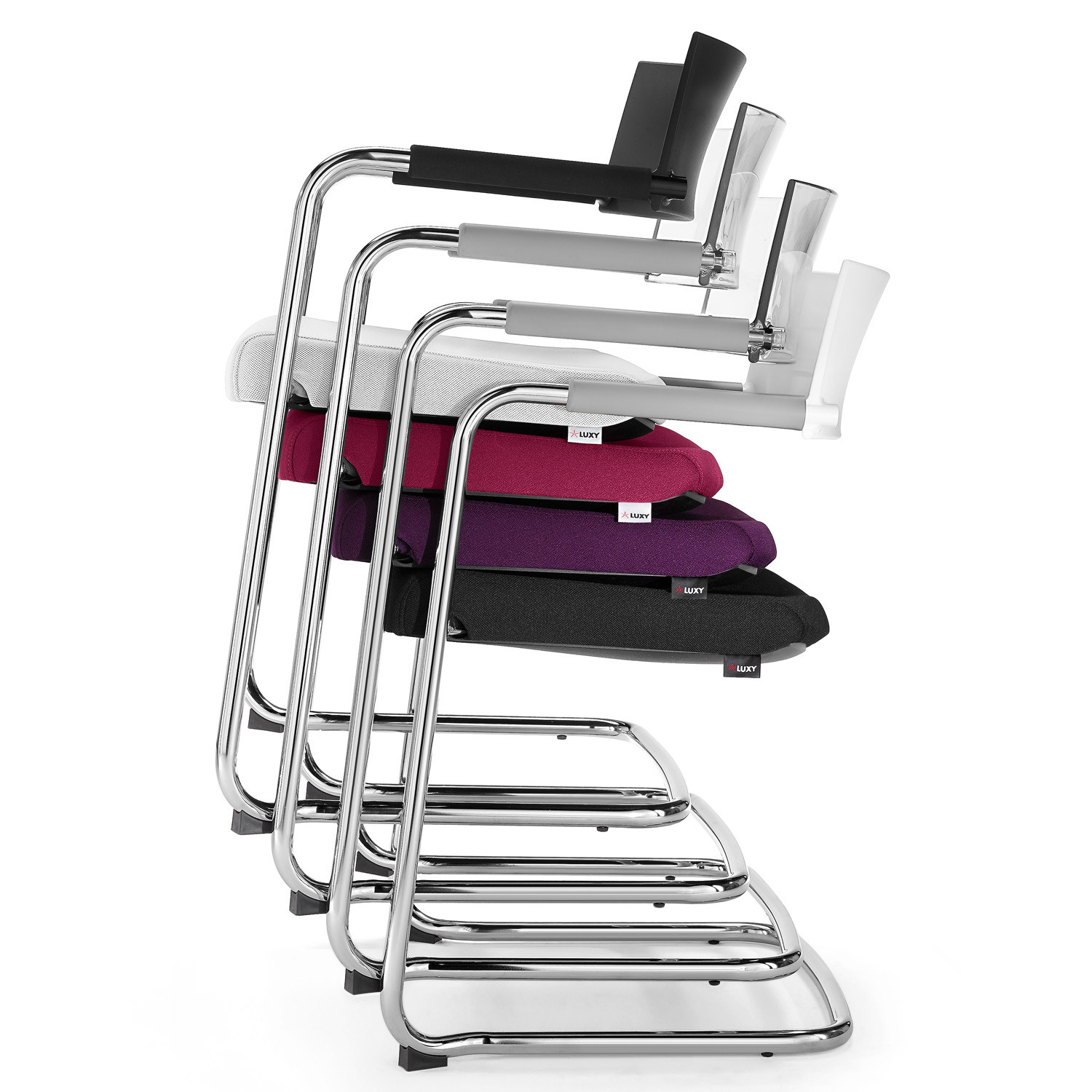 La Mesh Cantilever Chair can be stacked