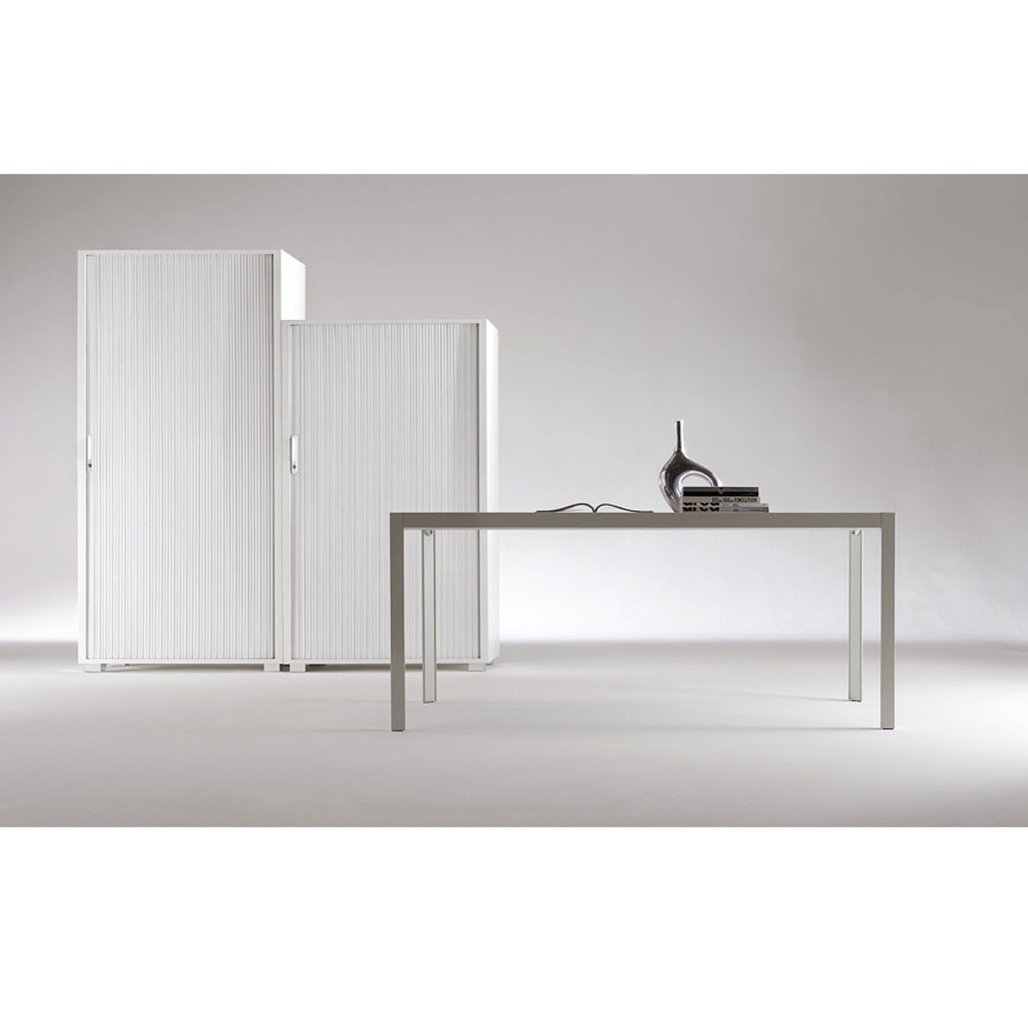Primo Tambour Cabinets provide unrestricted access to the whole storage space