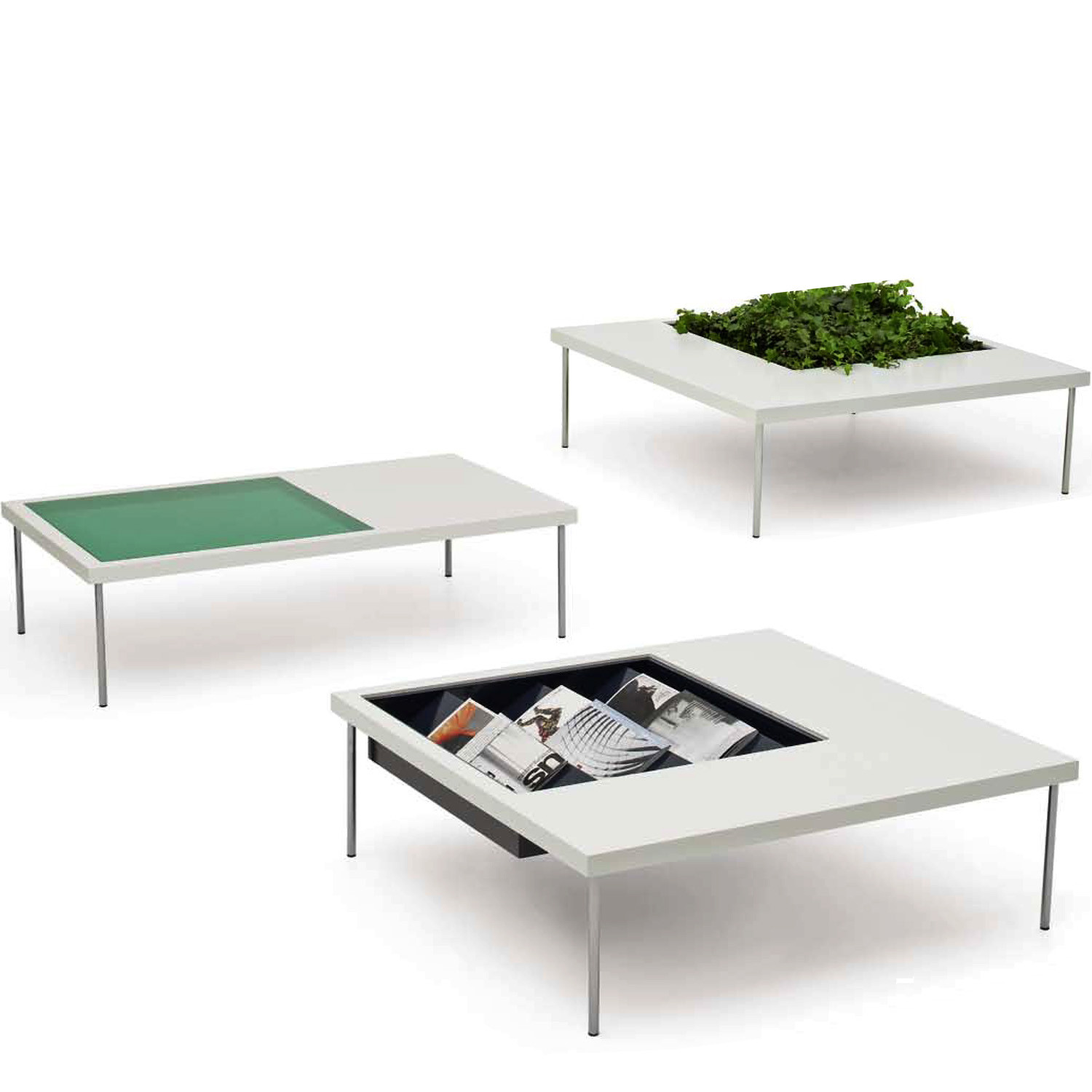 Window Magazine and Planter Coffee Tables