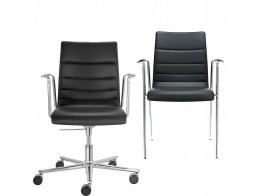 Fina Armchairs upholstered in Leather.