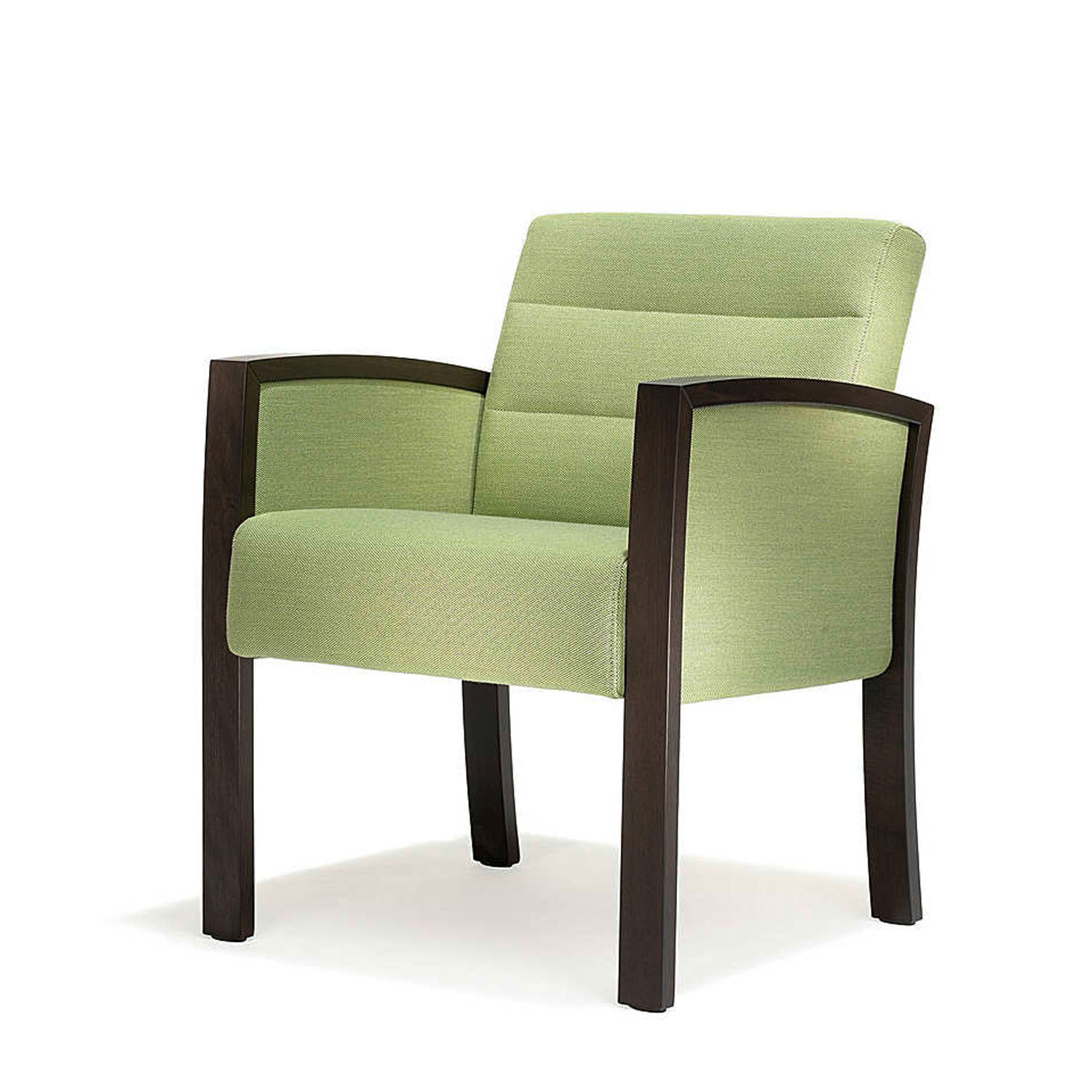 5050 Vega Armchair with side parts covered in fabric, beech legs and armpads