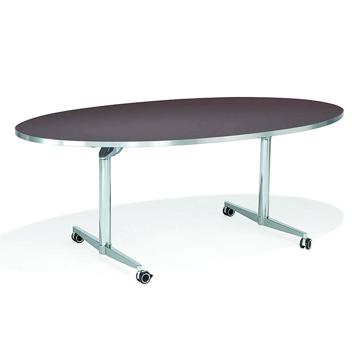 6000 San_Siro Oval Meeting Table with castors