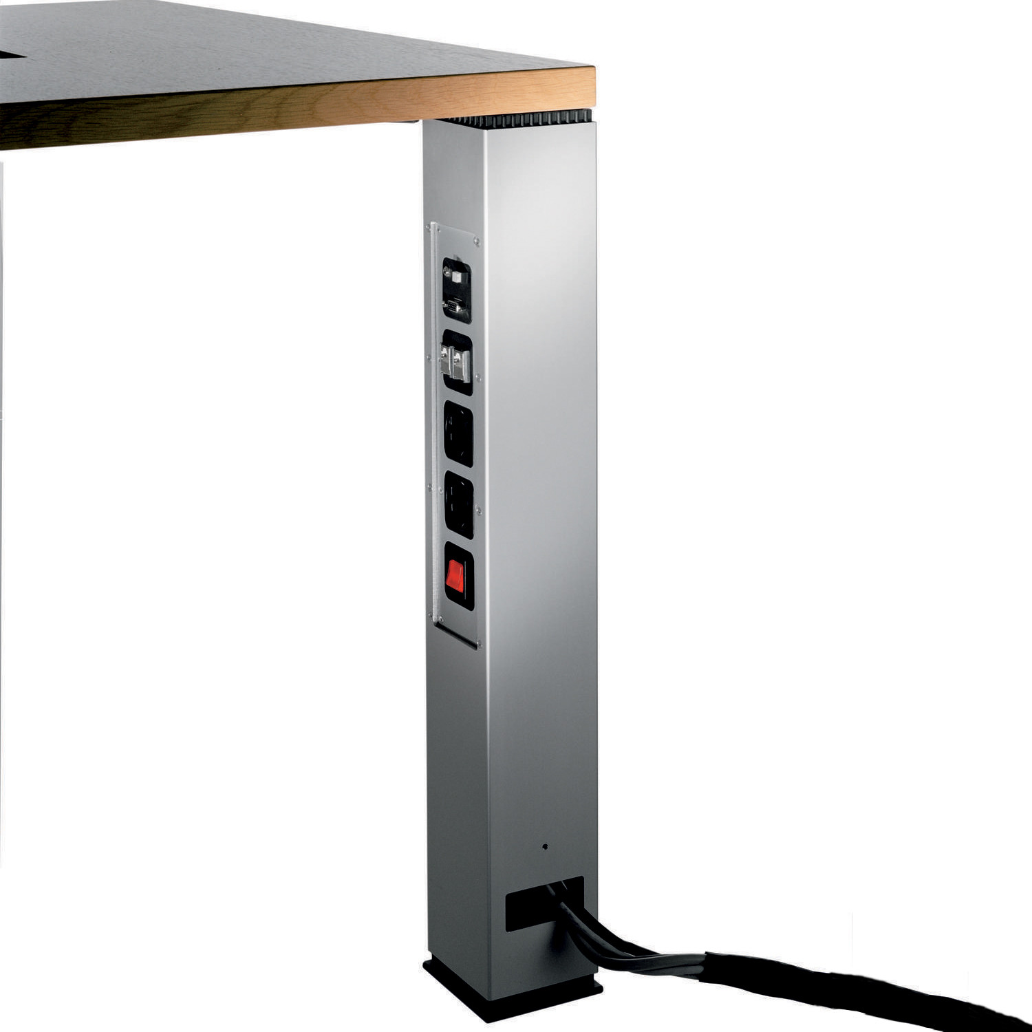 Palette table leg detail with cable management system