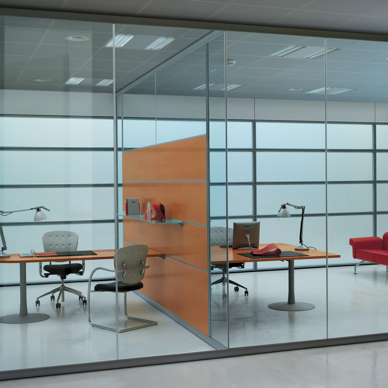 Areaplan Kristal Partitions + Glass Shelves + Worktops
