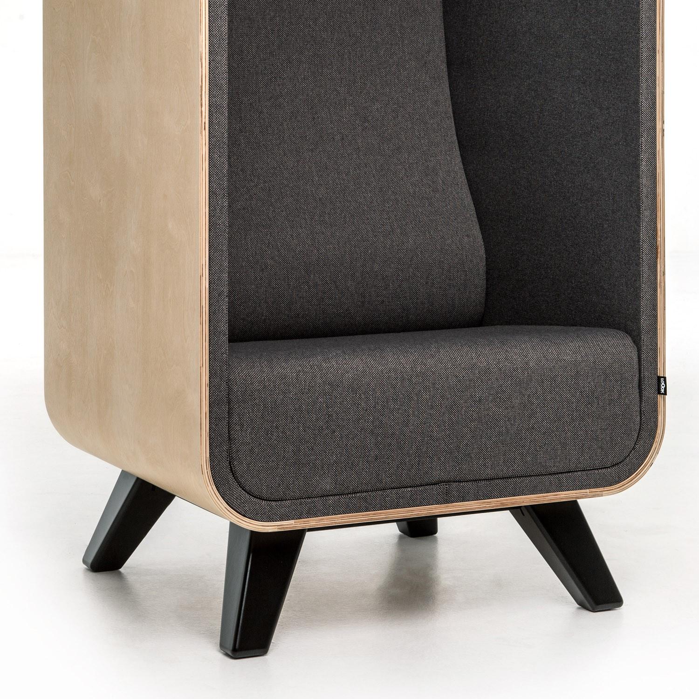 Box Lounge Armchair with 4-Leg Base