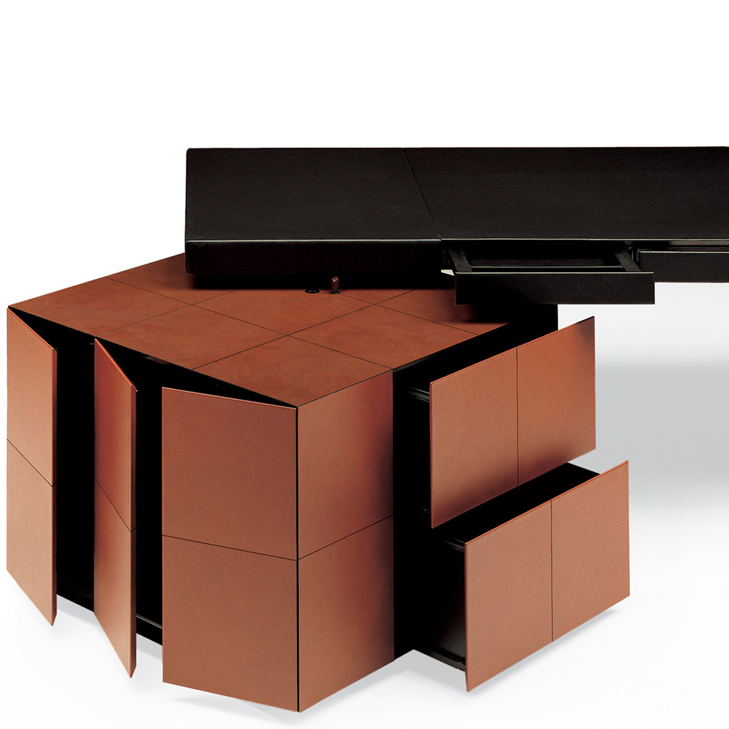 CEO Cube Desk Open Drawers