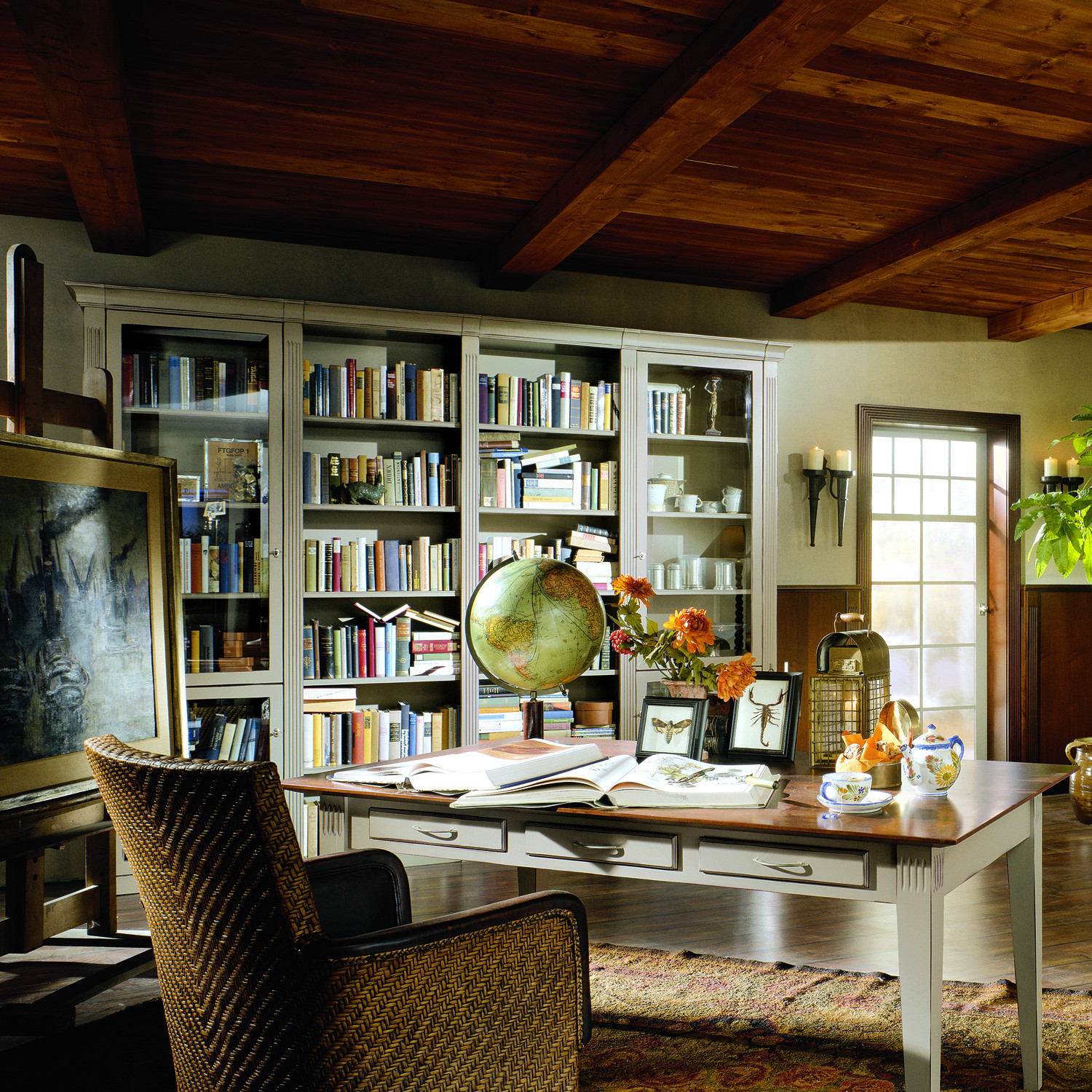 Classic Library with Glass Doors