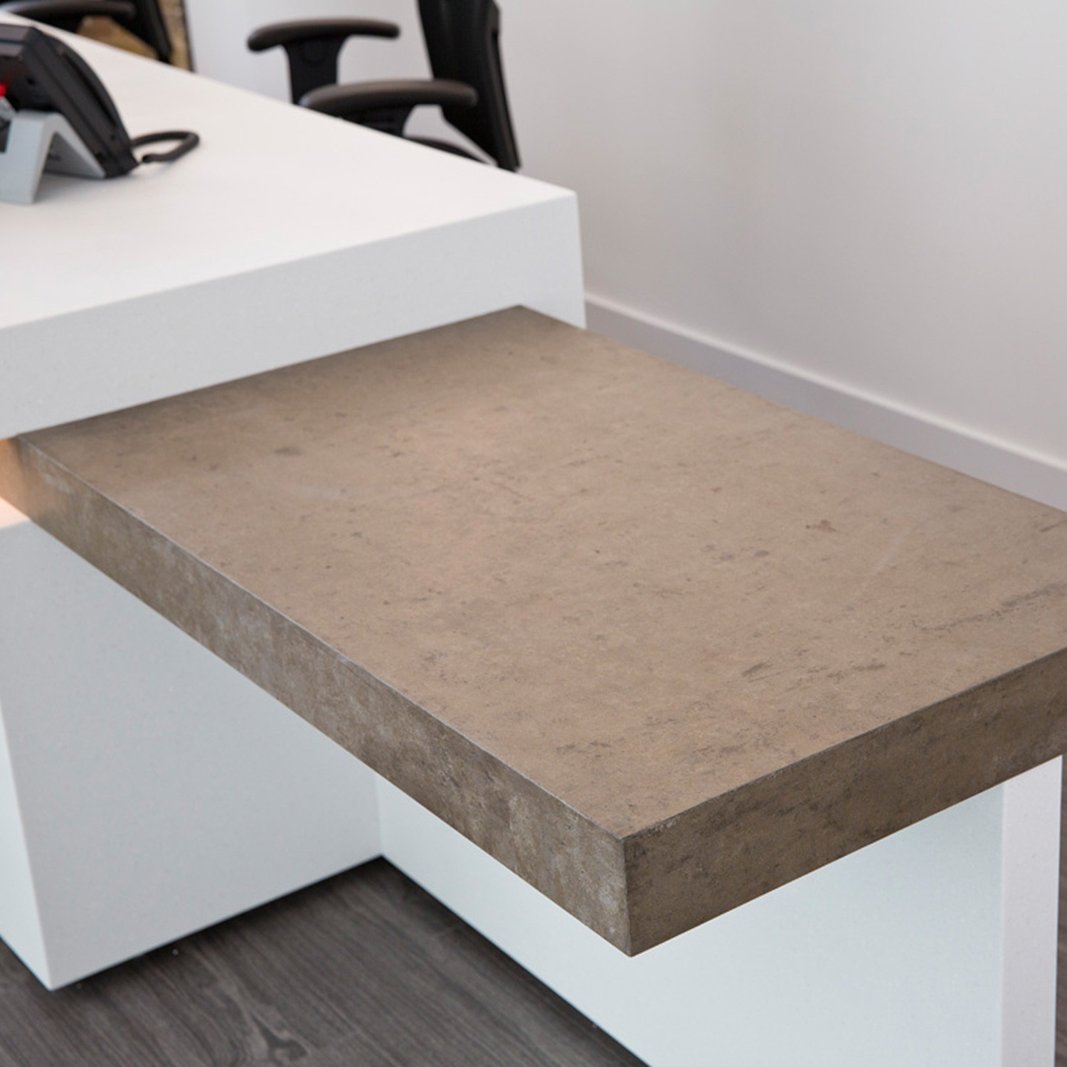 Corian Reception Desk With Eco-friendly Concrete