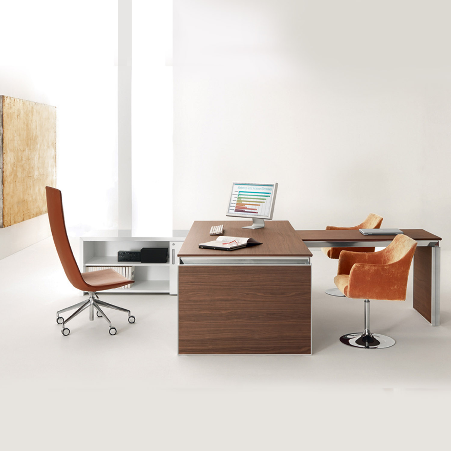 Custom Made Executive Han Desk With Return