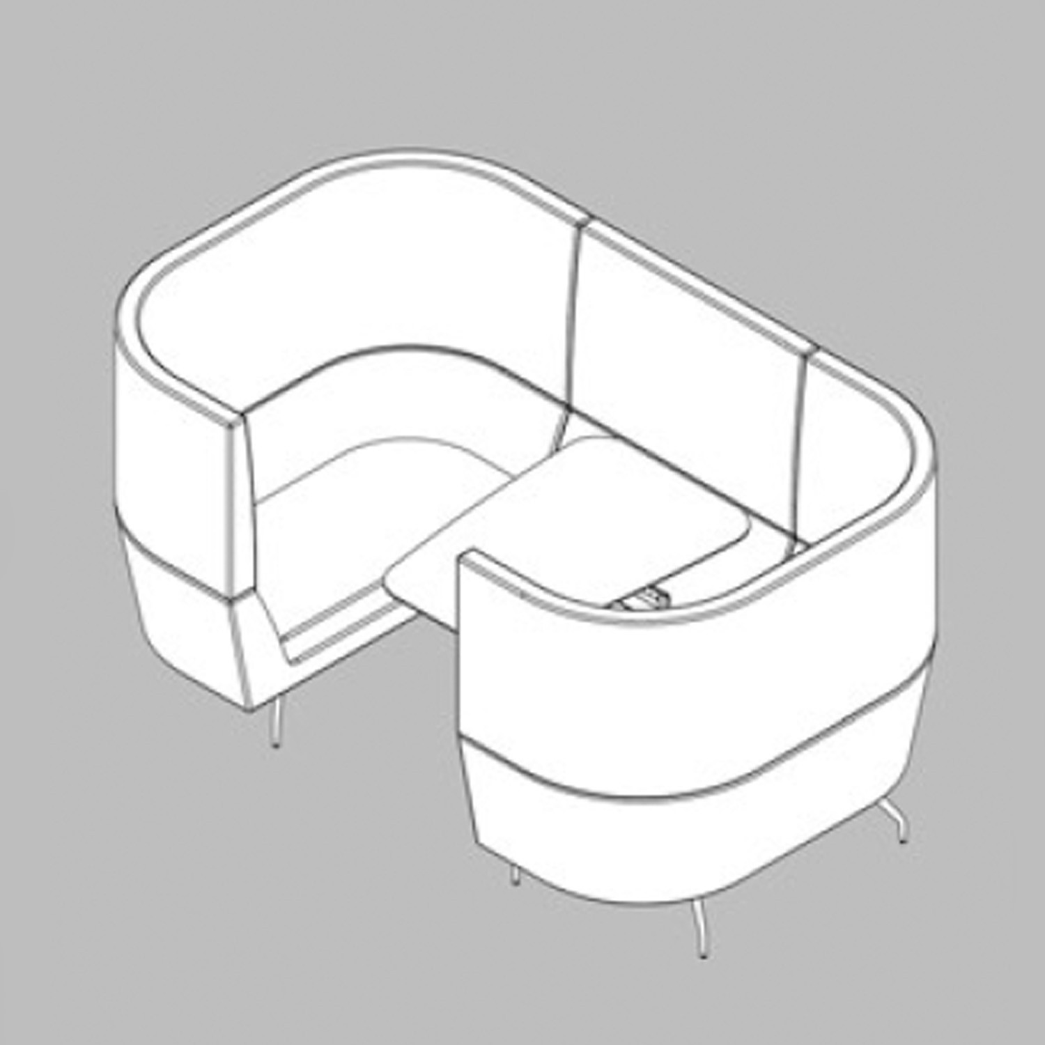 Cwtch Workbay Sofa Line Drawing