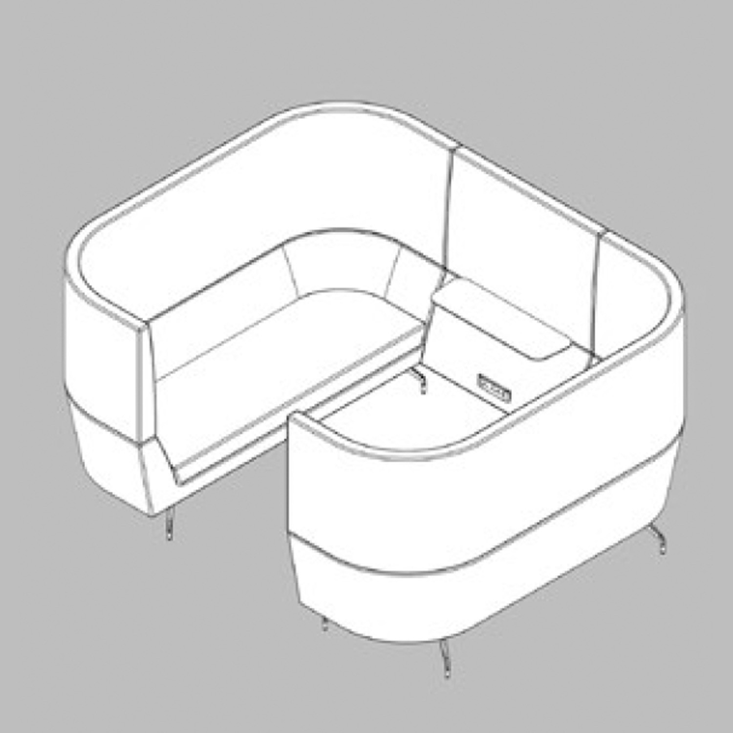 Cwtch Workbay Sofa CAD