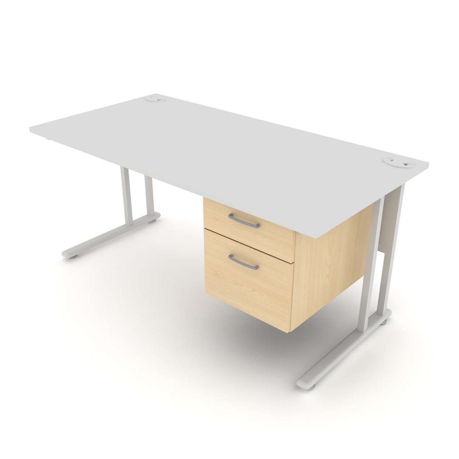 Flexi Desk with 2 drawer fixed pedestal