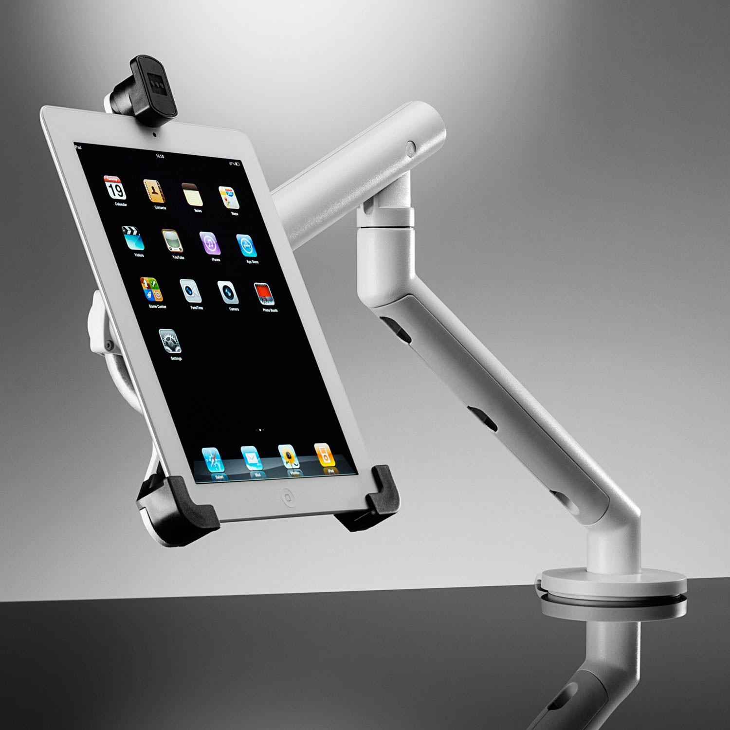 Flo Dual Monitor Arm With iPad Tablet Mount