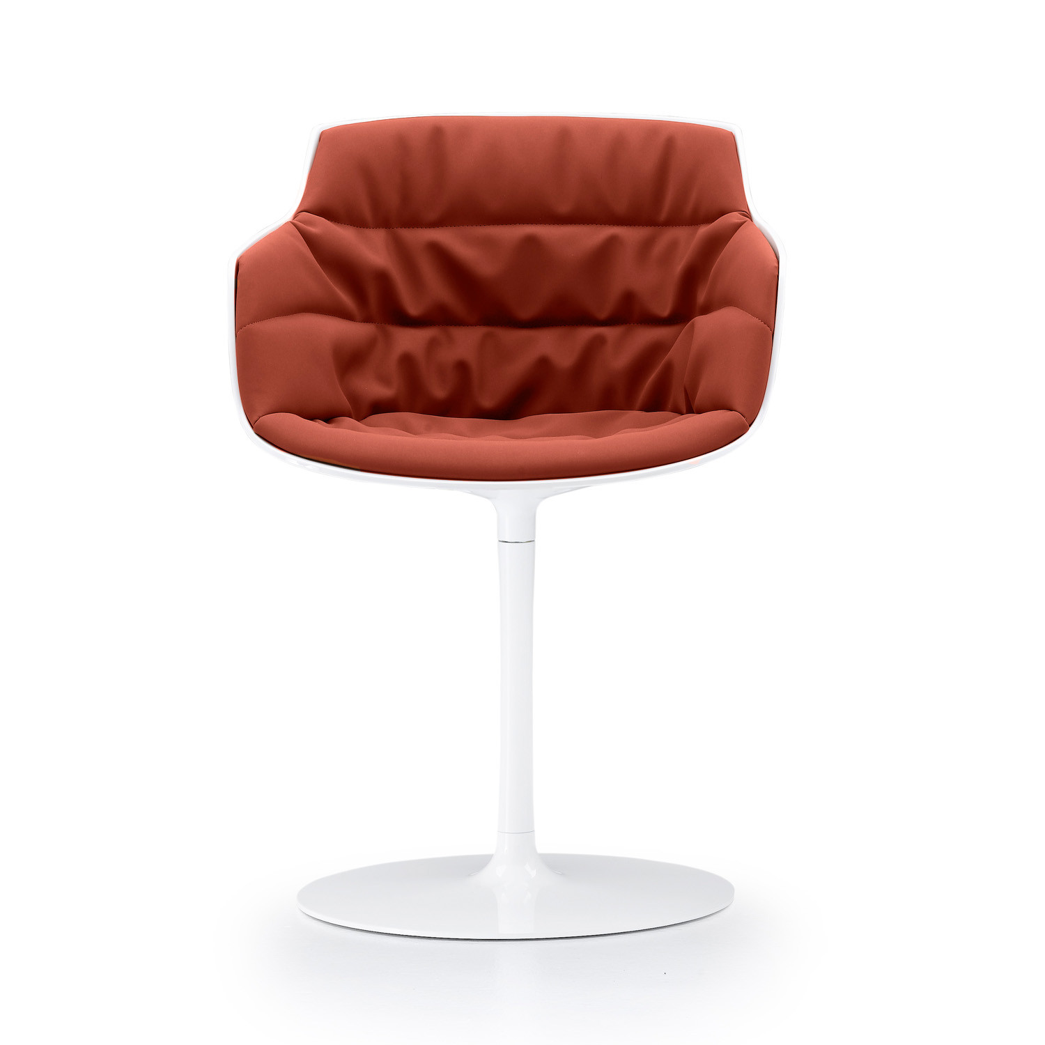 Flow Slim armchair upholstered  with trumpet base