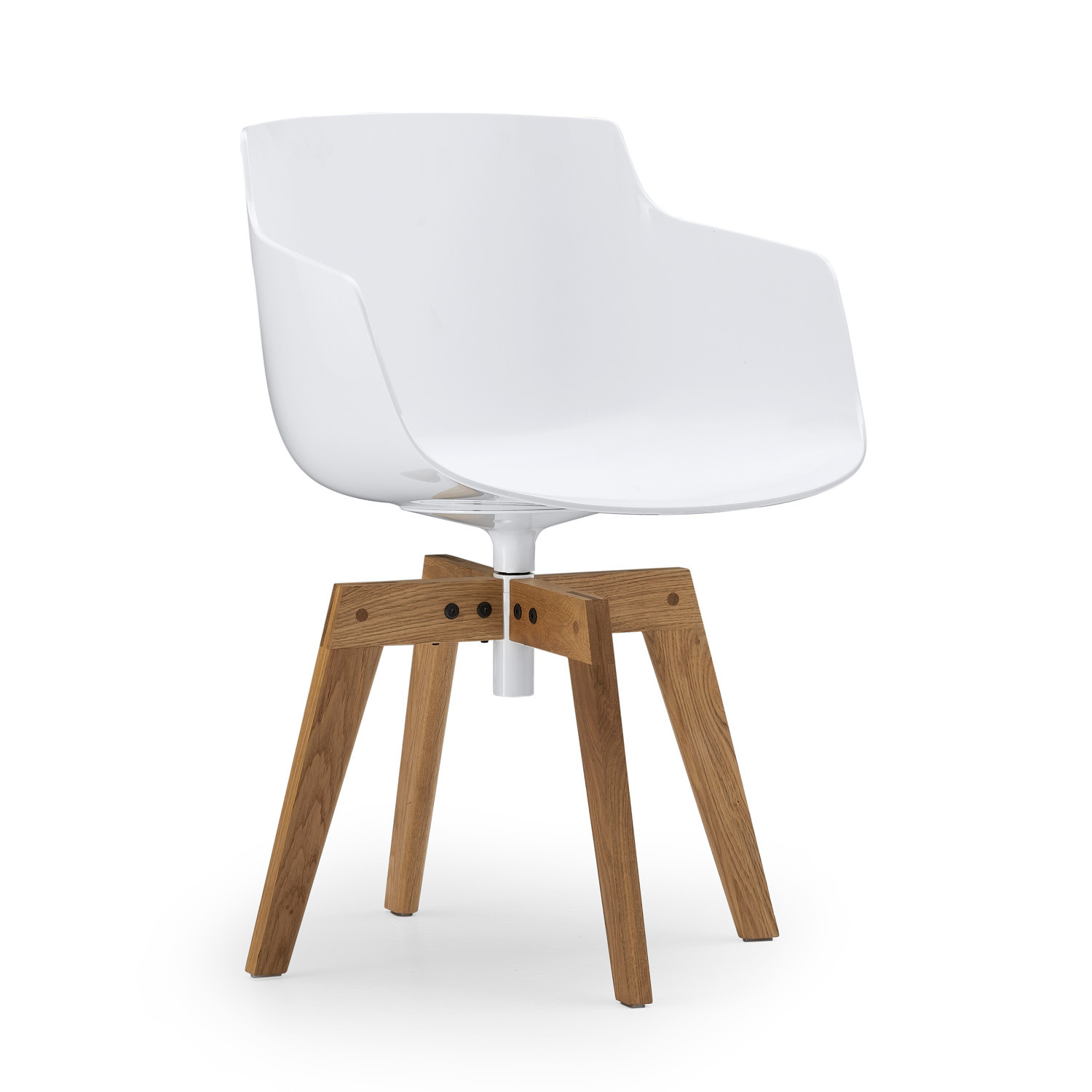 Flow Slim armchair with wooden swivel base
