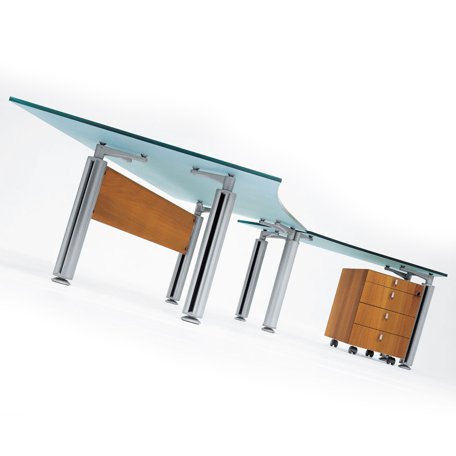 Modesty Panels and Desk Storage can be added to the Forma Kristall Executive Desk