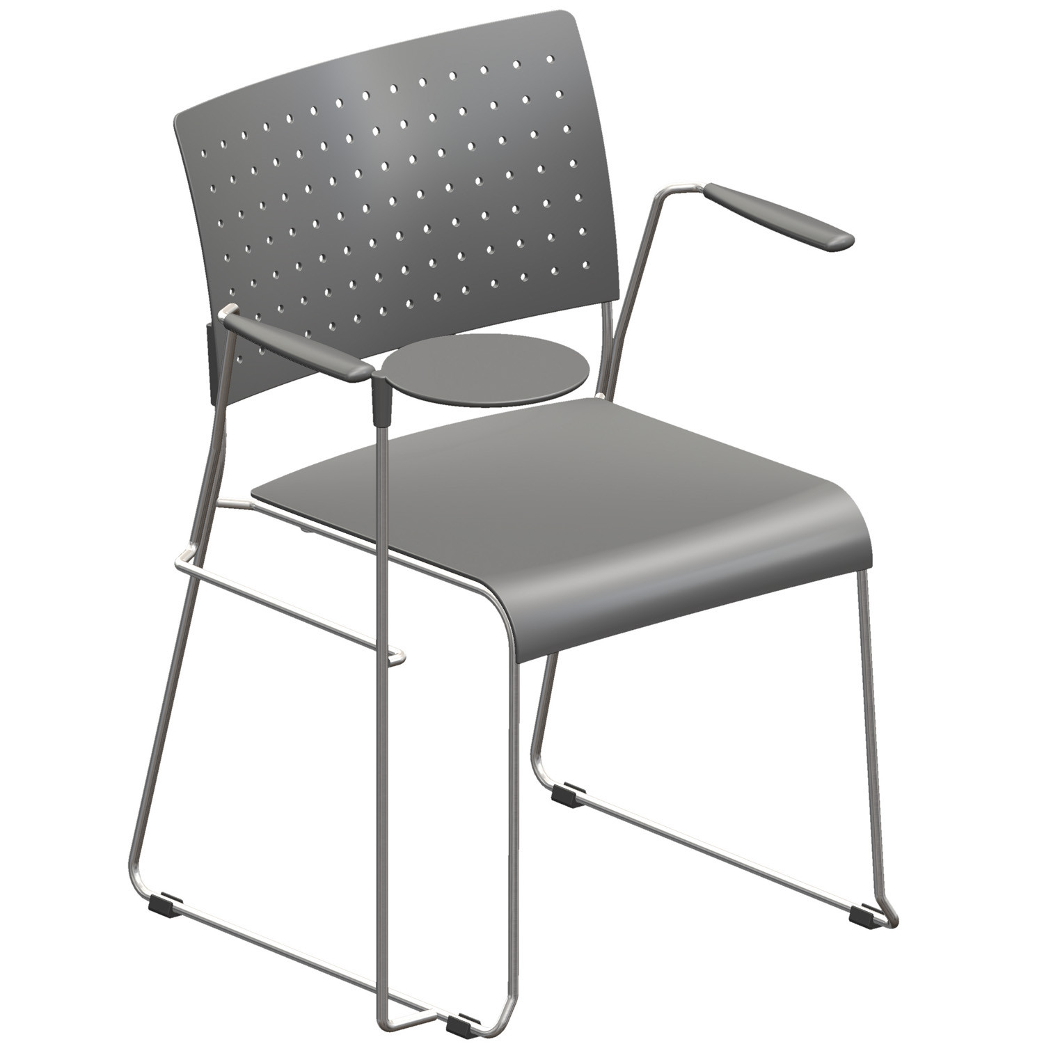 Foxy Visitors Chair with writing tablet - gray