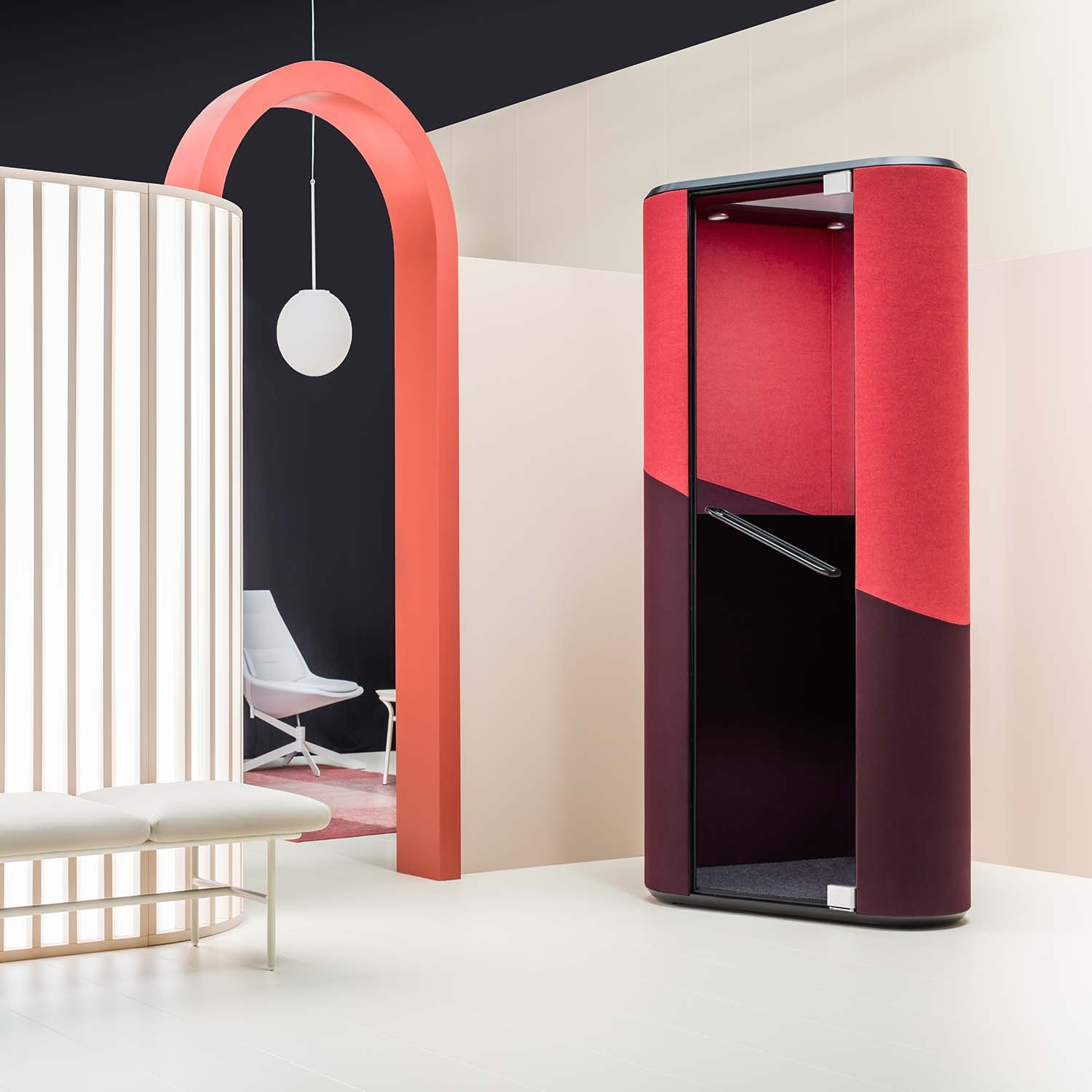 Hana Acoustic Phone Booth in Red And Black
