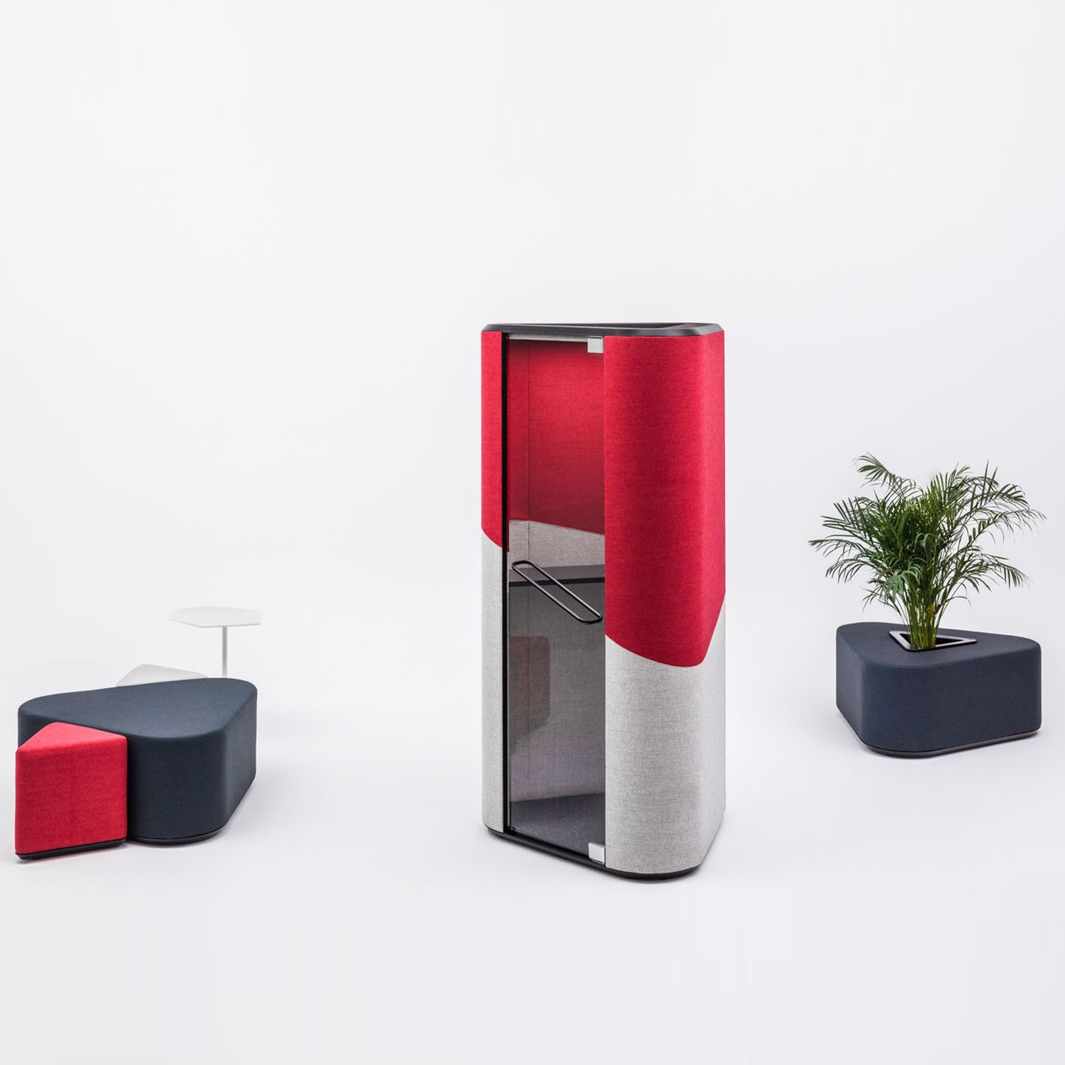 Hana Acoustic Phone Booth in Red And Grey