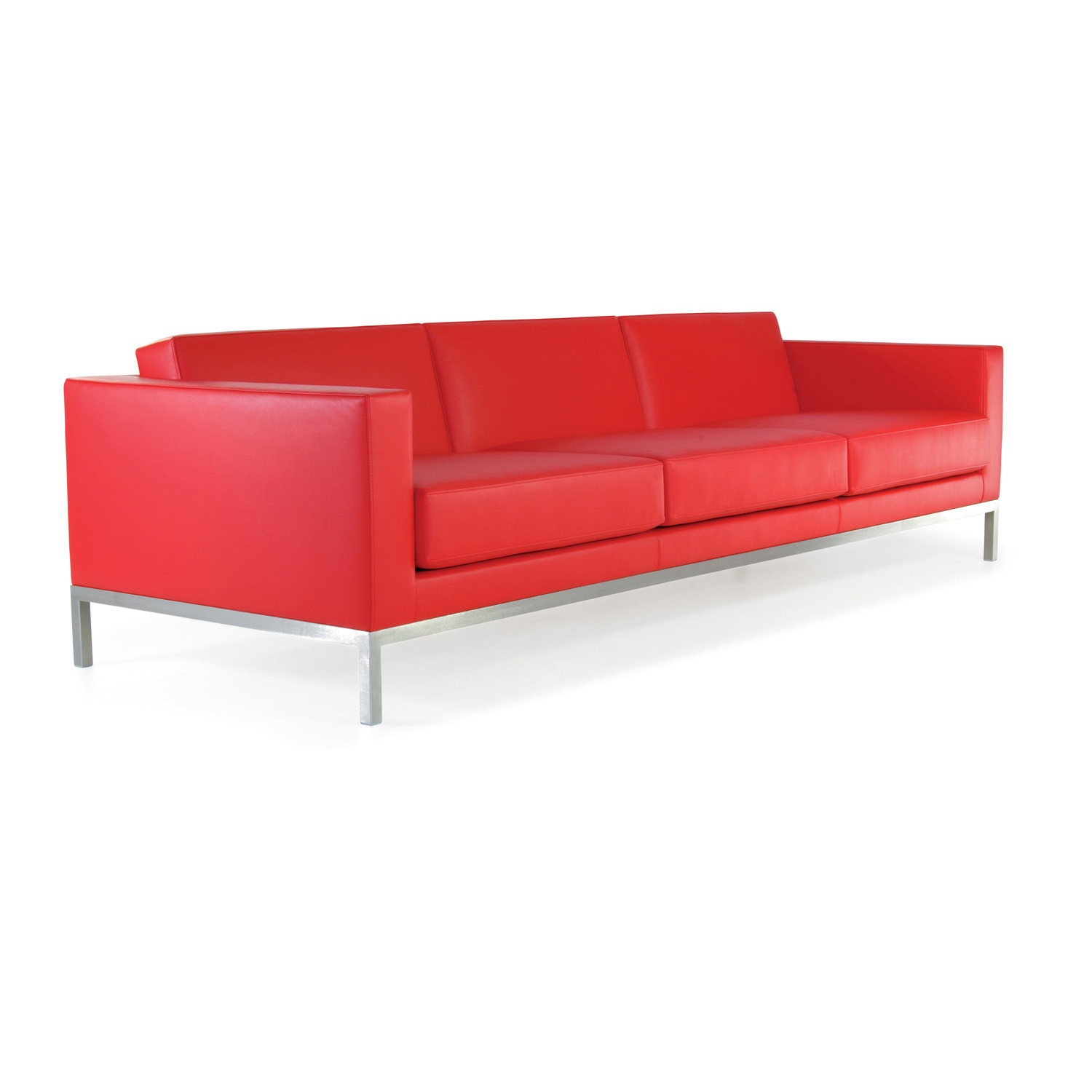 HM26 Three-Seater Sofa in red leather upholstery