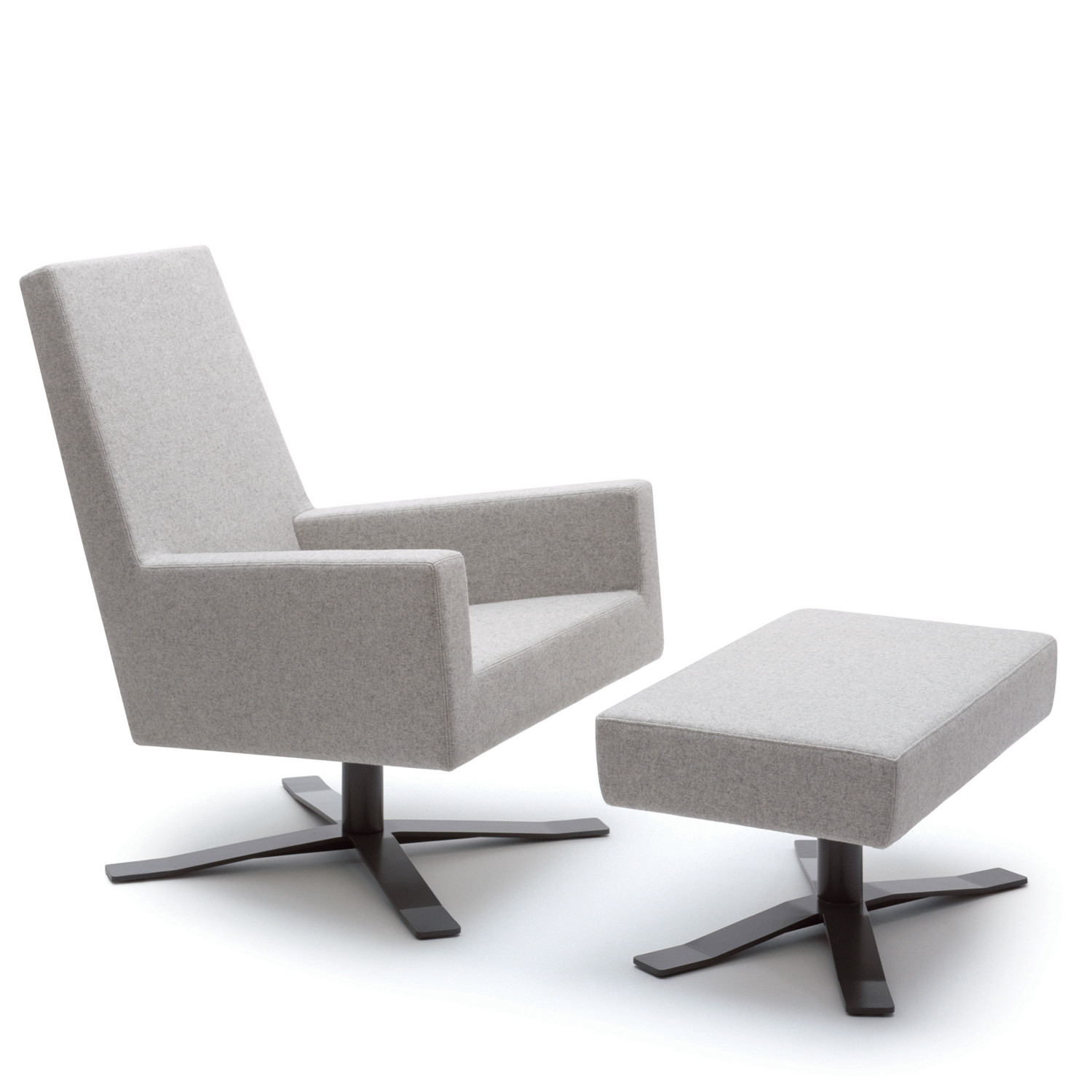 HM44 Armchair and Footstool in self-centering swivel base