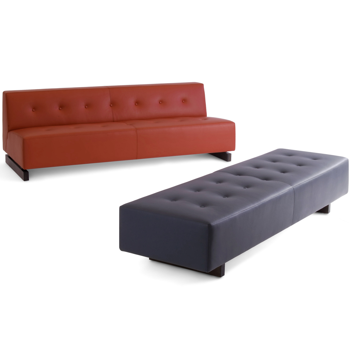 HM46o and HM46t Modular Soft Seating Units in Leather