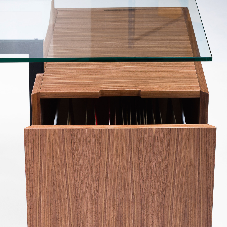 Homework Glass Desk Pedestal