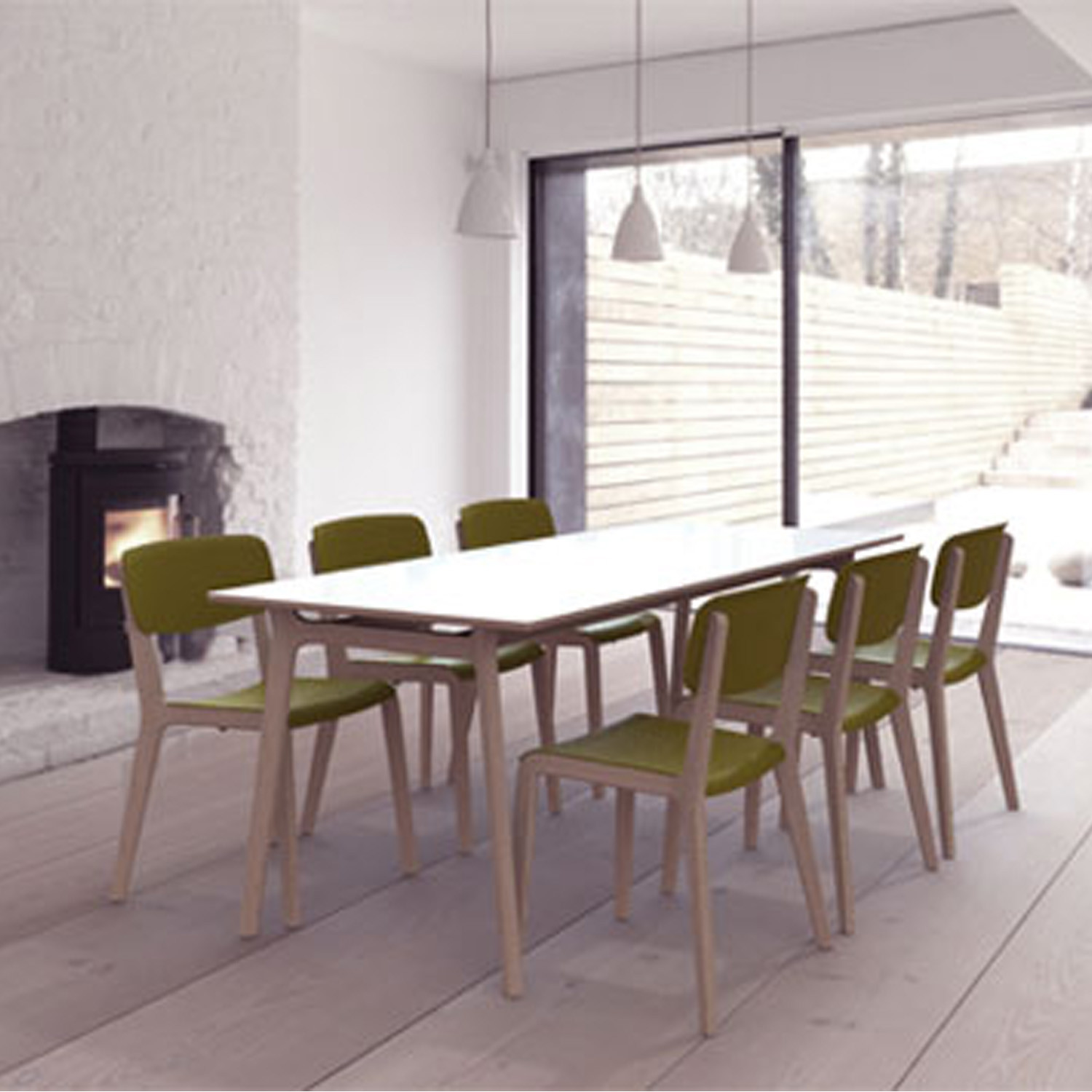 Jonty Stacking Dining Chairs + Jonty Table