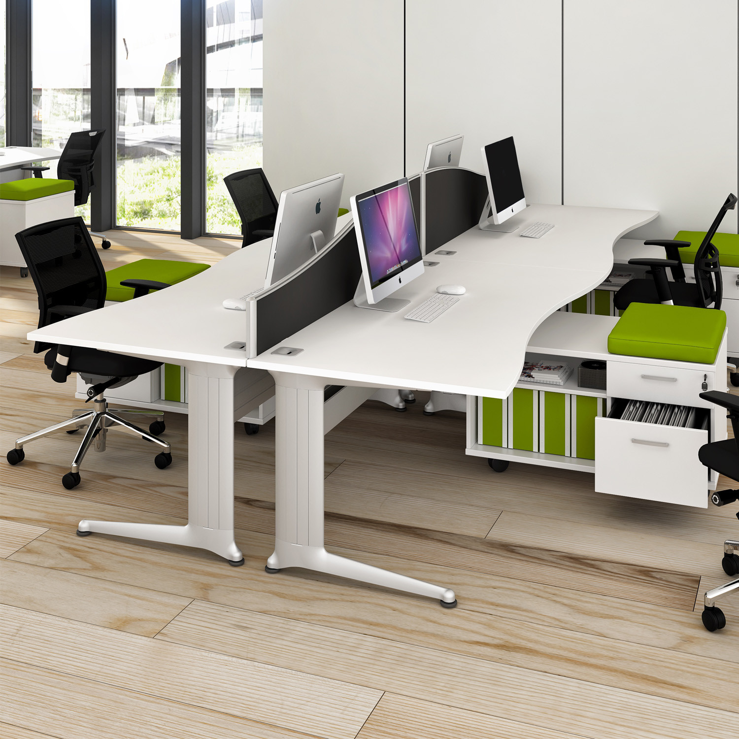 Kassini Double Wave Office Desks