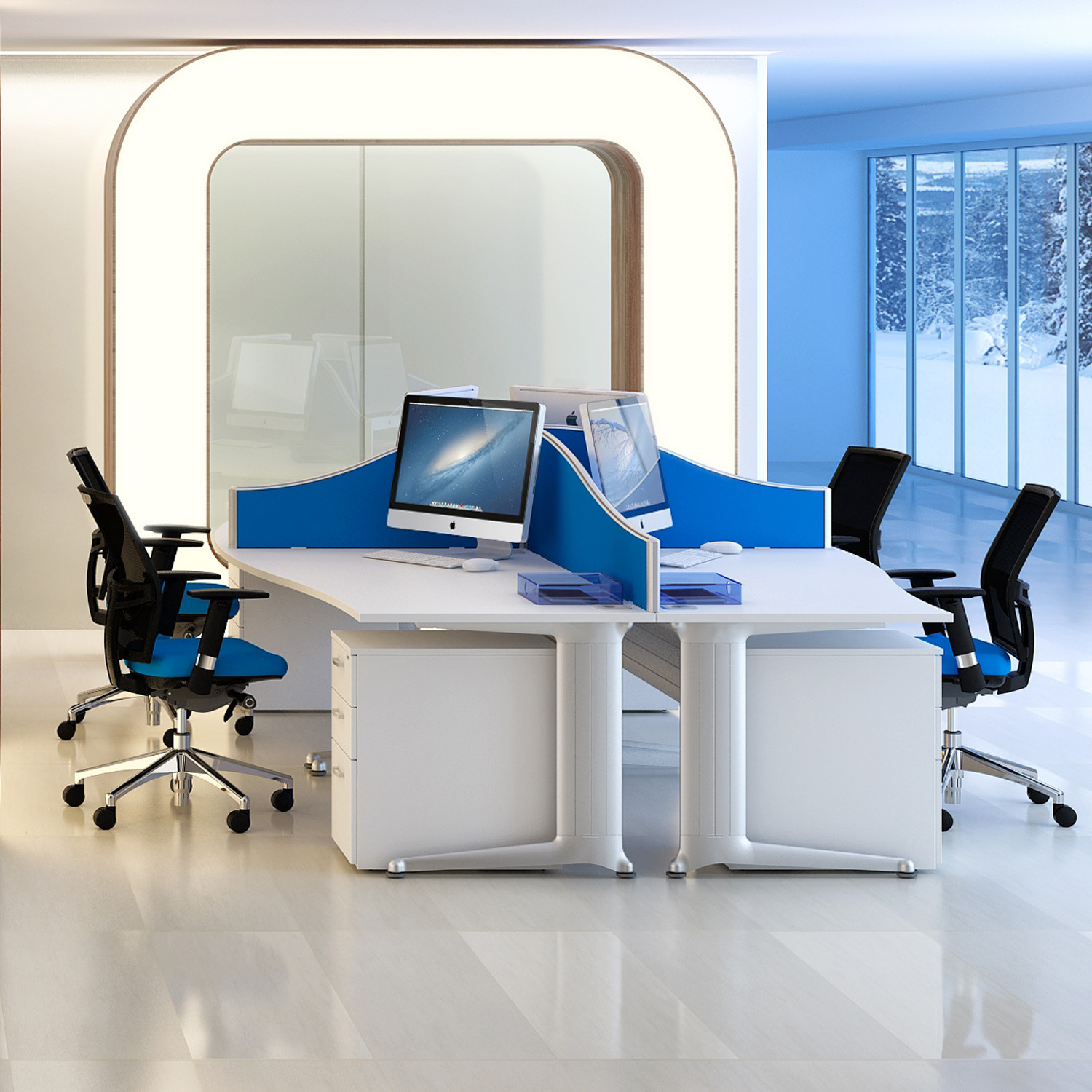 Kassini Shaped Office Desks with screens