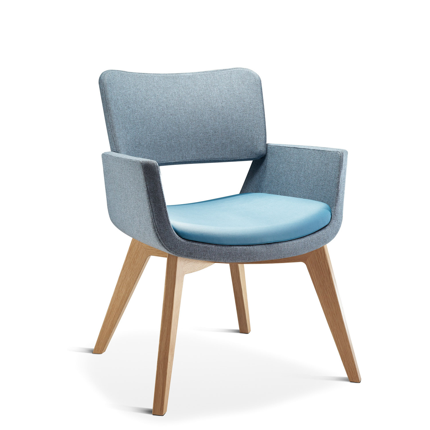 Korus Armchair with Wooden Legs