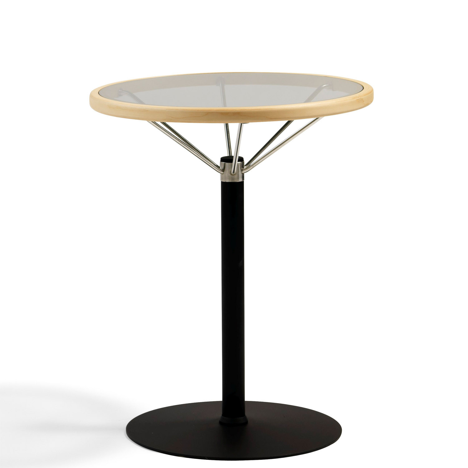 L1 Glass Top Table with steel pedestal and base