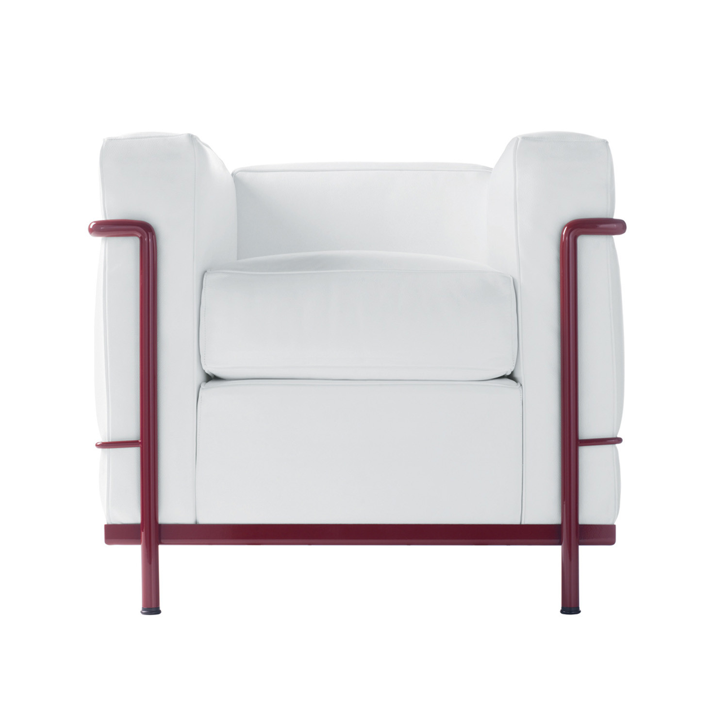 LC2 Armchair Front White with Bordeaux Frame