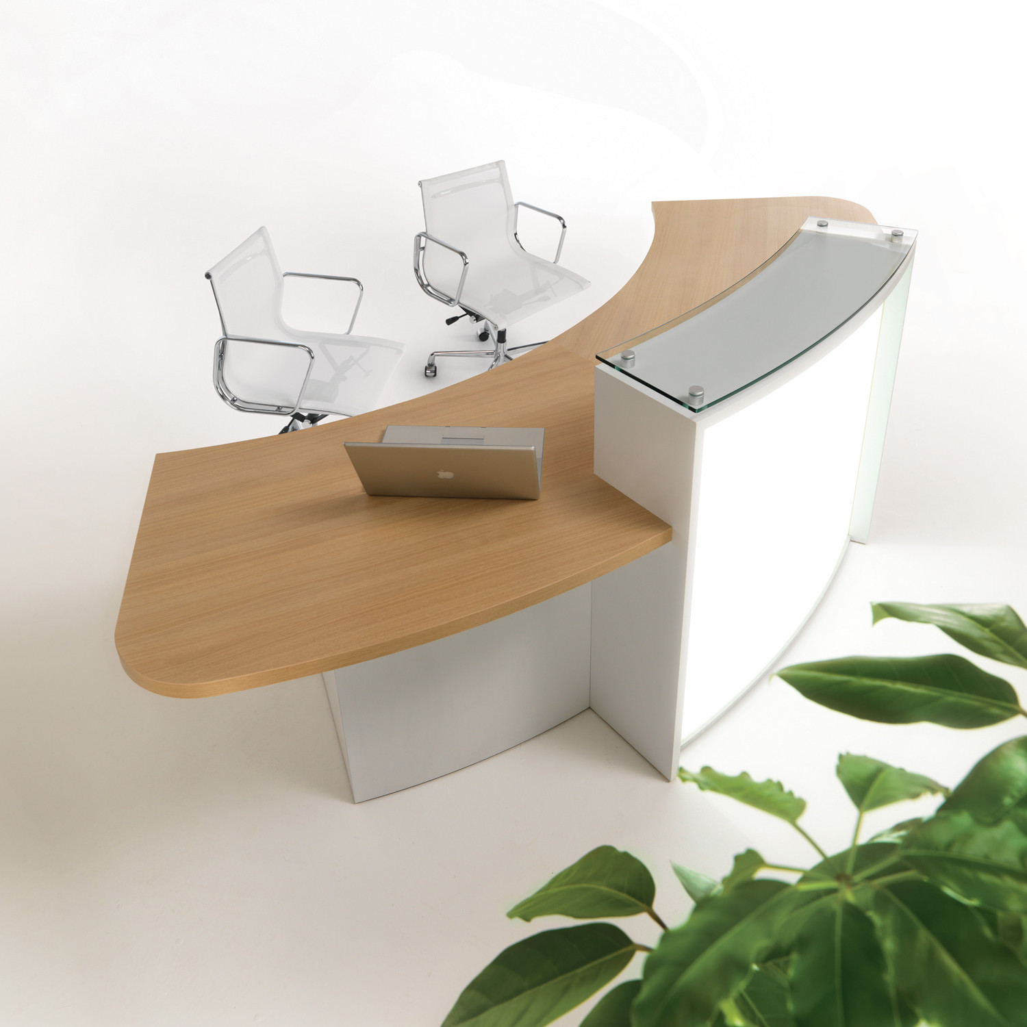 Evolution Light Reception Desks by Clark Rendall