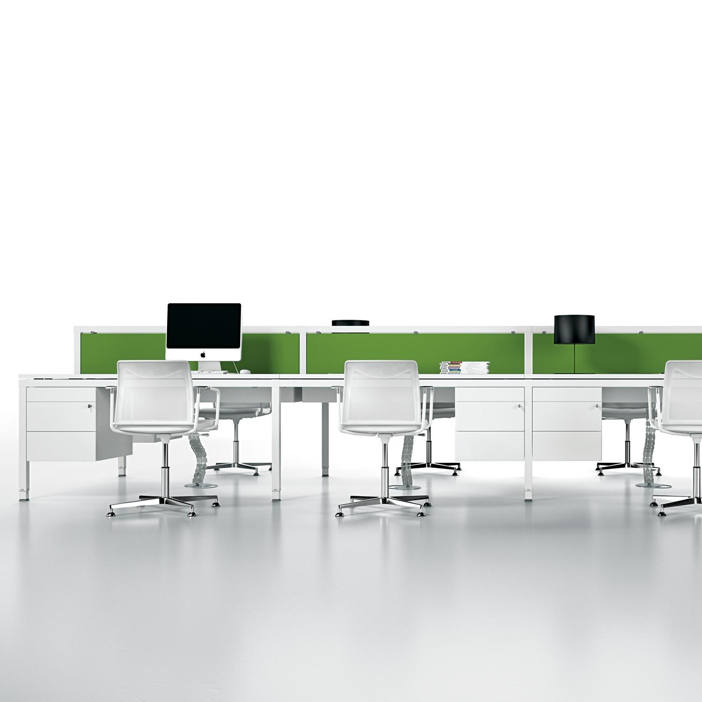 Link Desk Bench with desk screen and desk pedestals