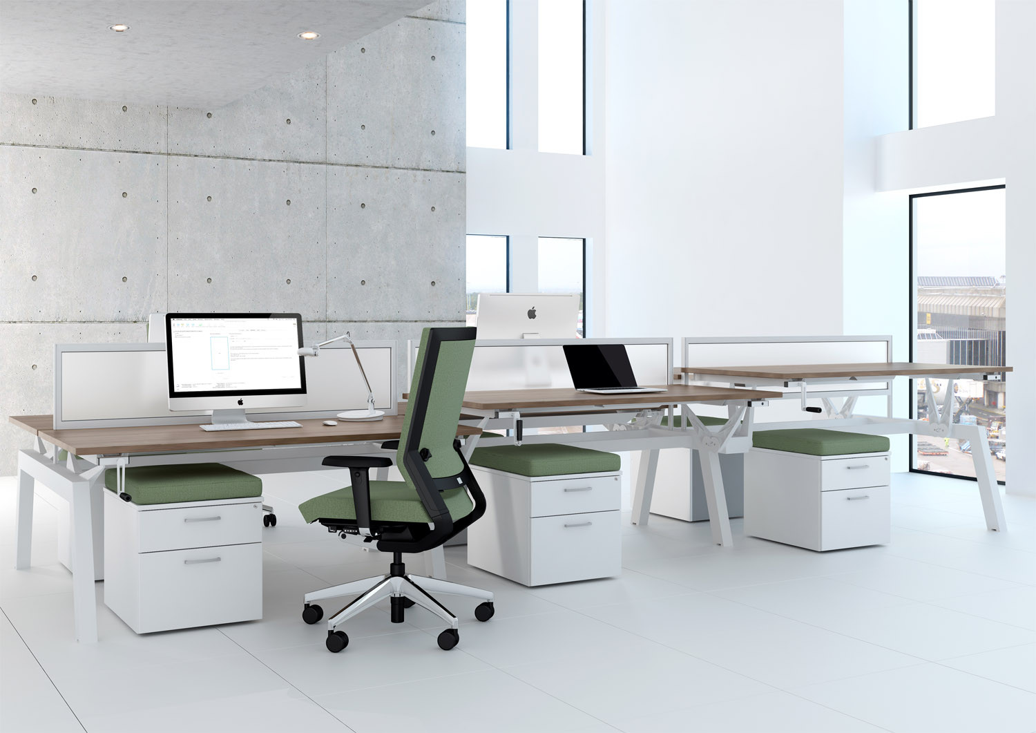 Linnea Elevate Bench Desks from Elite
