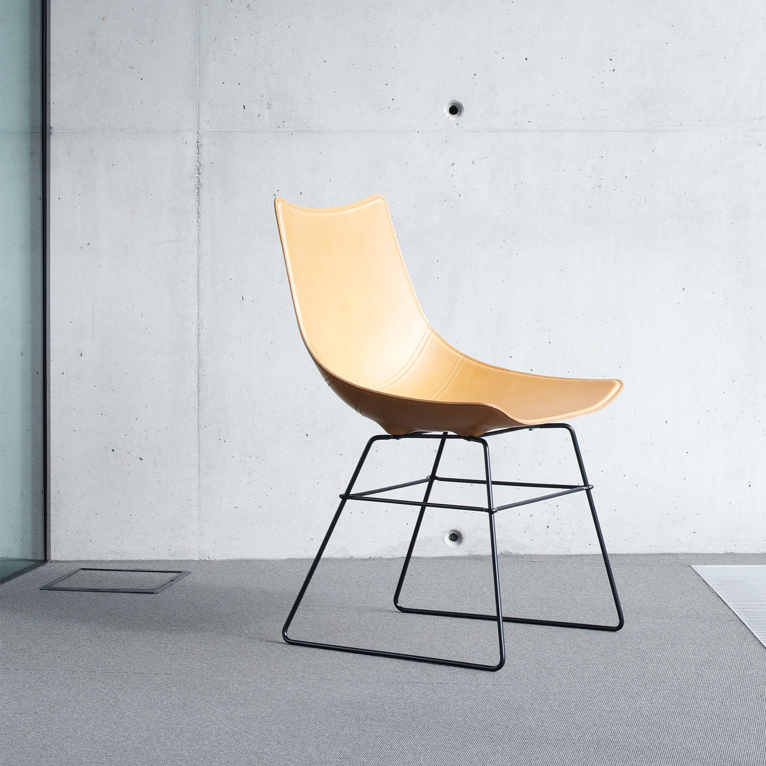Luc Sled Base Chair in Leather