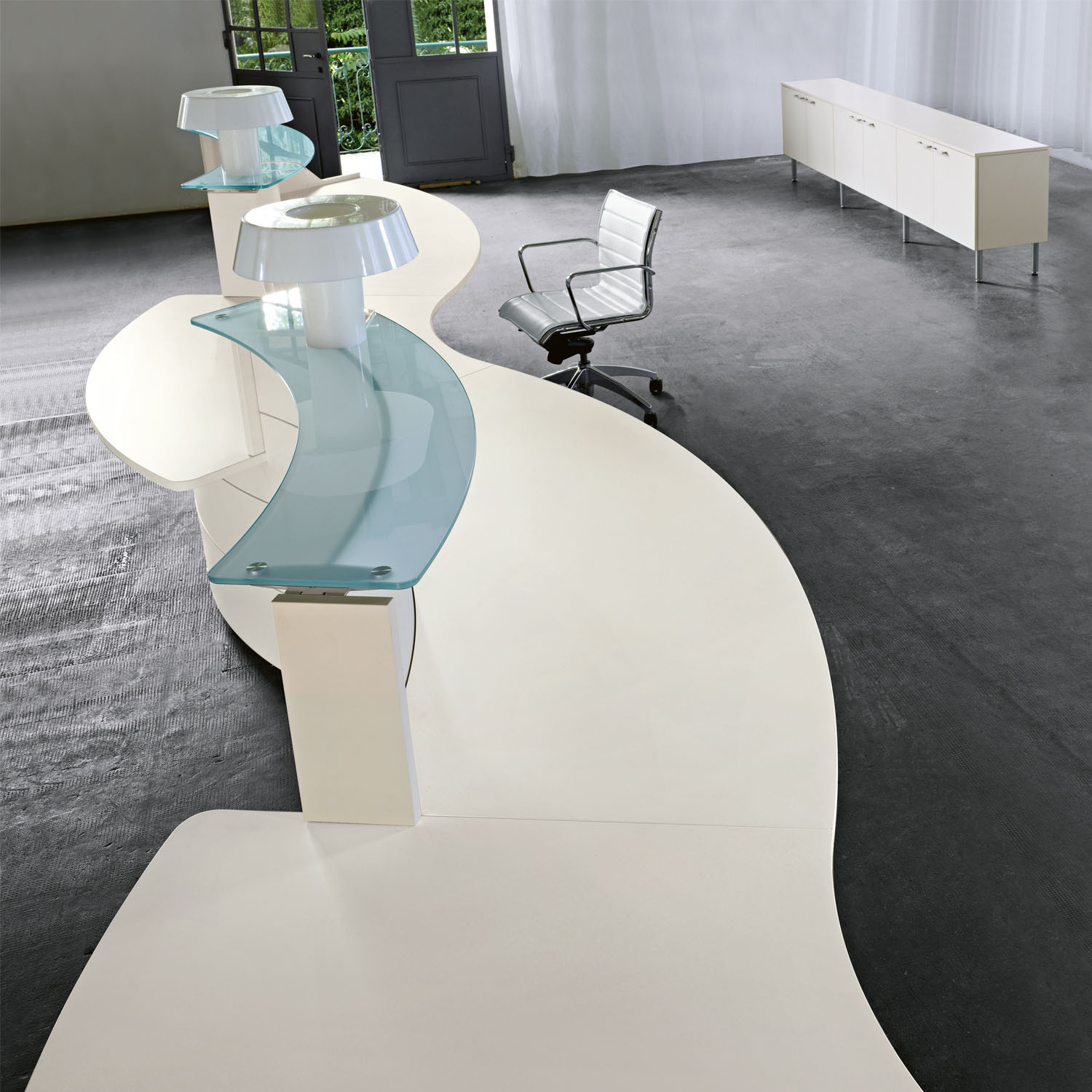 Luna Reception Desk with Glass Counter Top