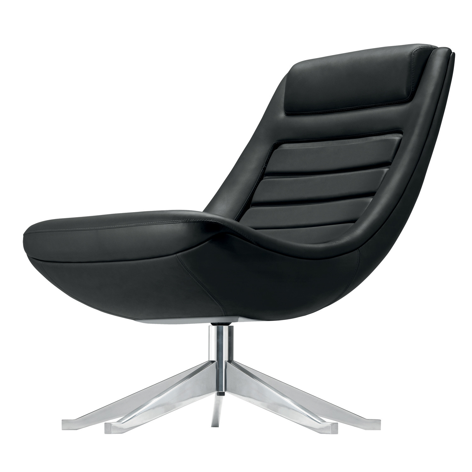 Manzù Armchair upholstered in black leather