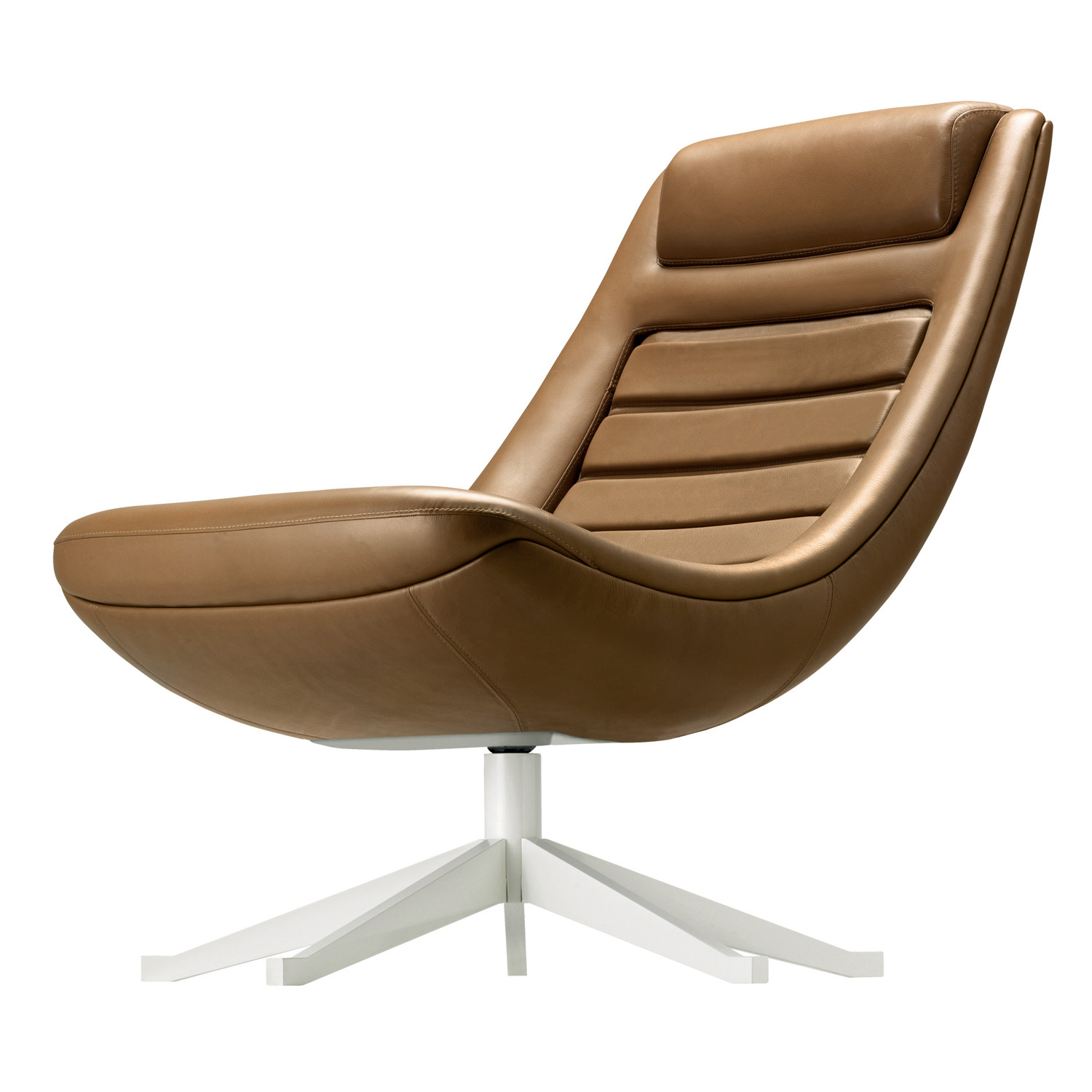 Manzù Armchair upholstered in leather Stolz