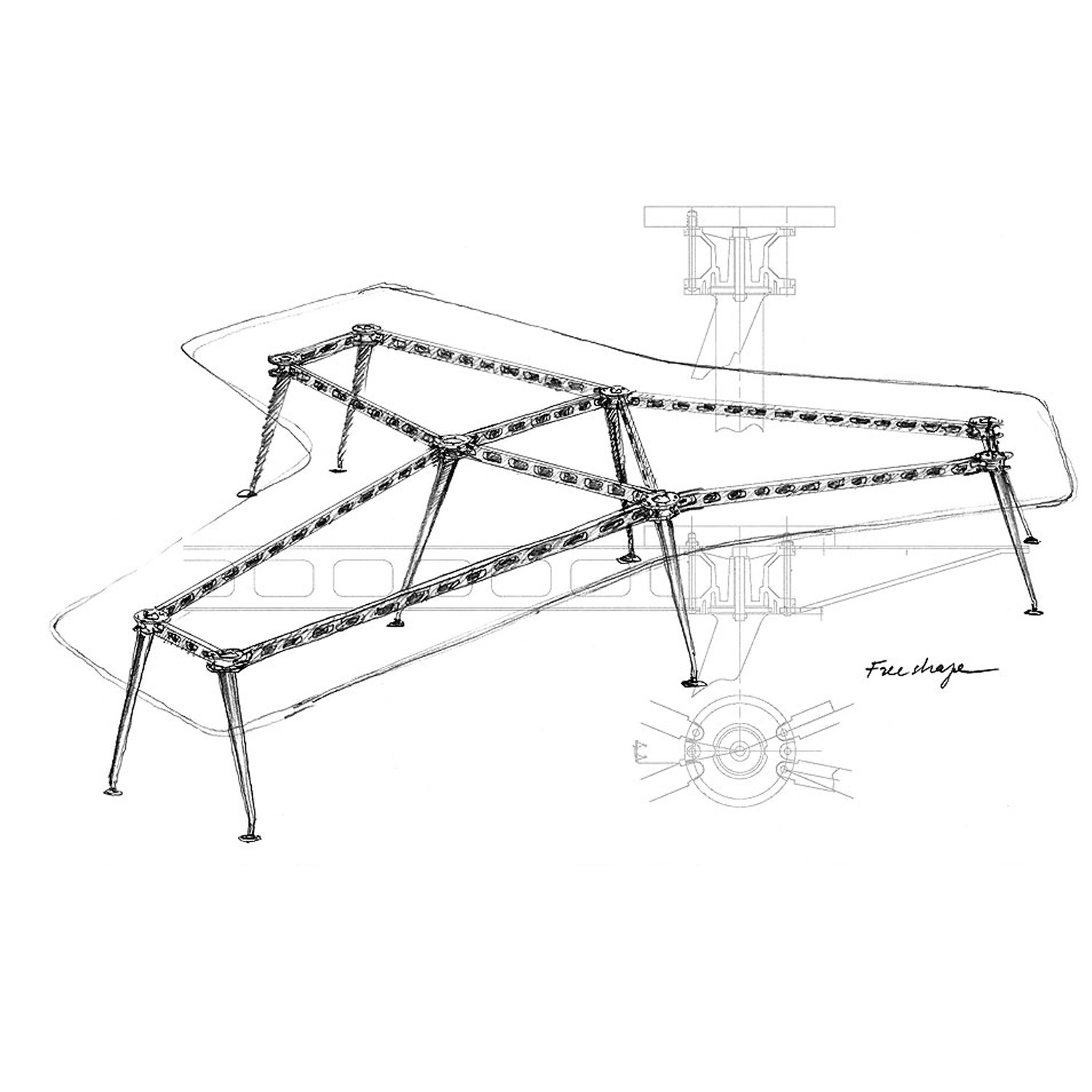 MedaMorph Conference Table sketch by Alberto Meda