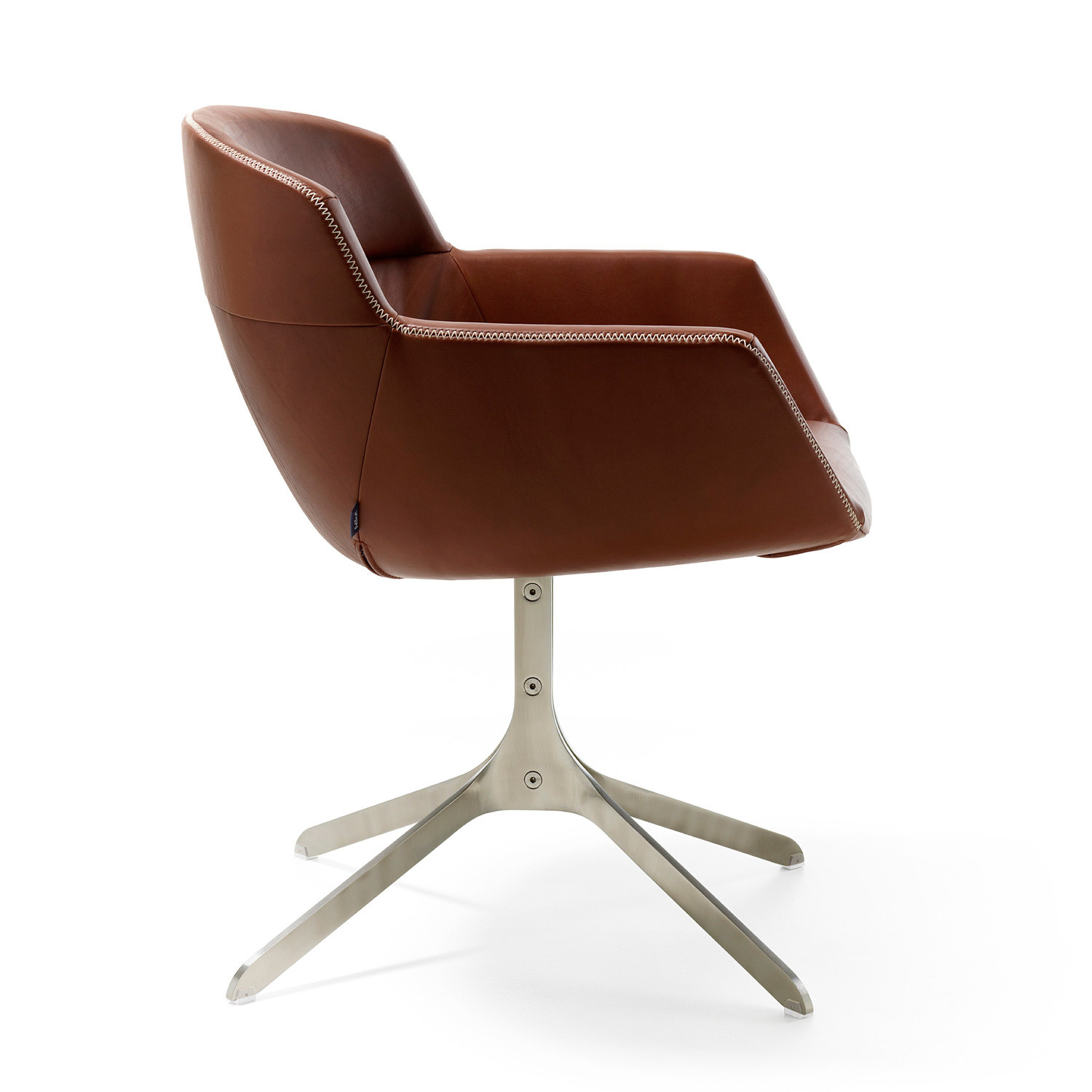 Mood Armchair with stainless-steel strip base