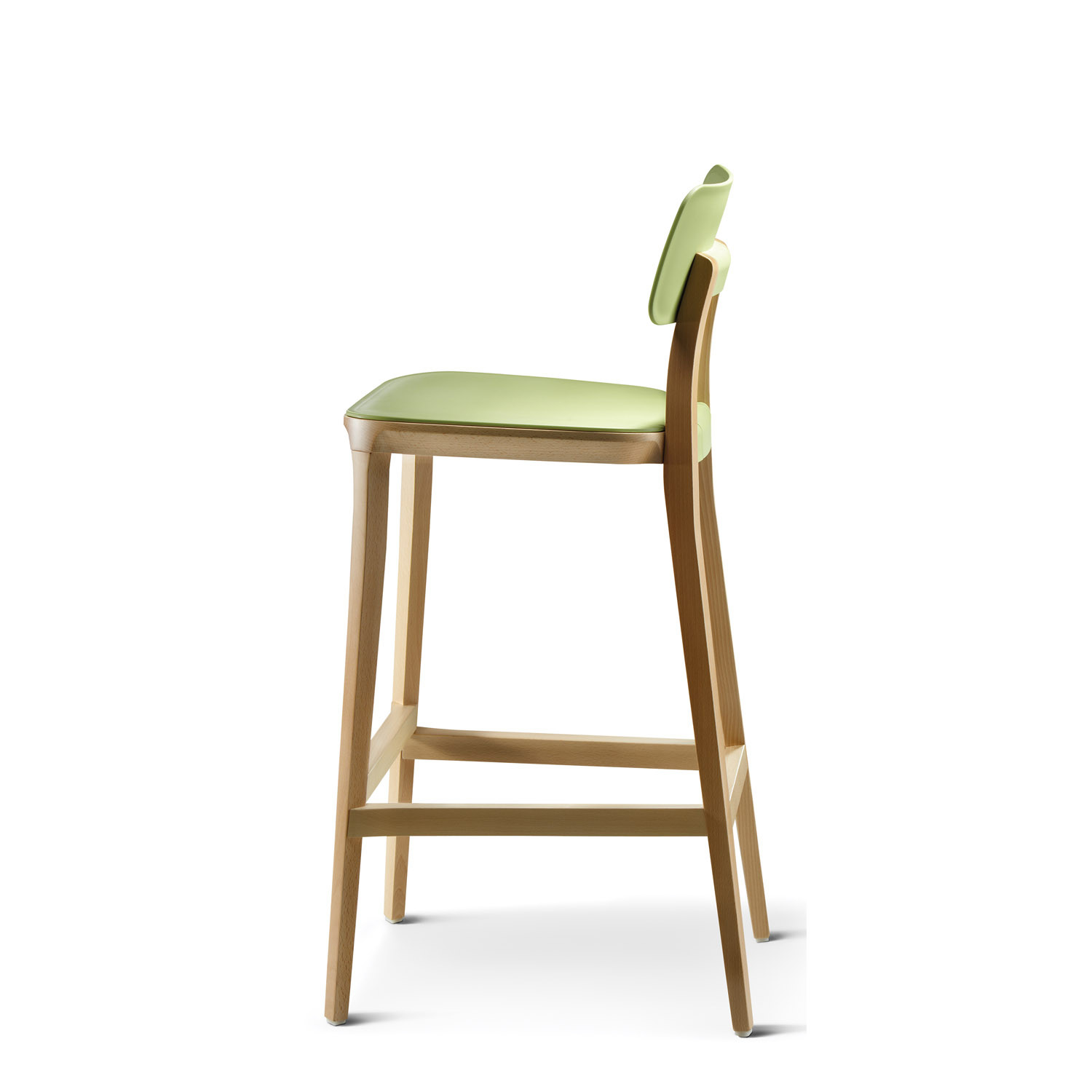 Retro Solid Wooden Bar Stool - Side View