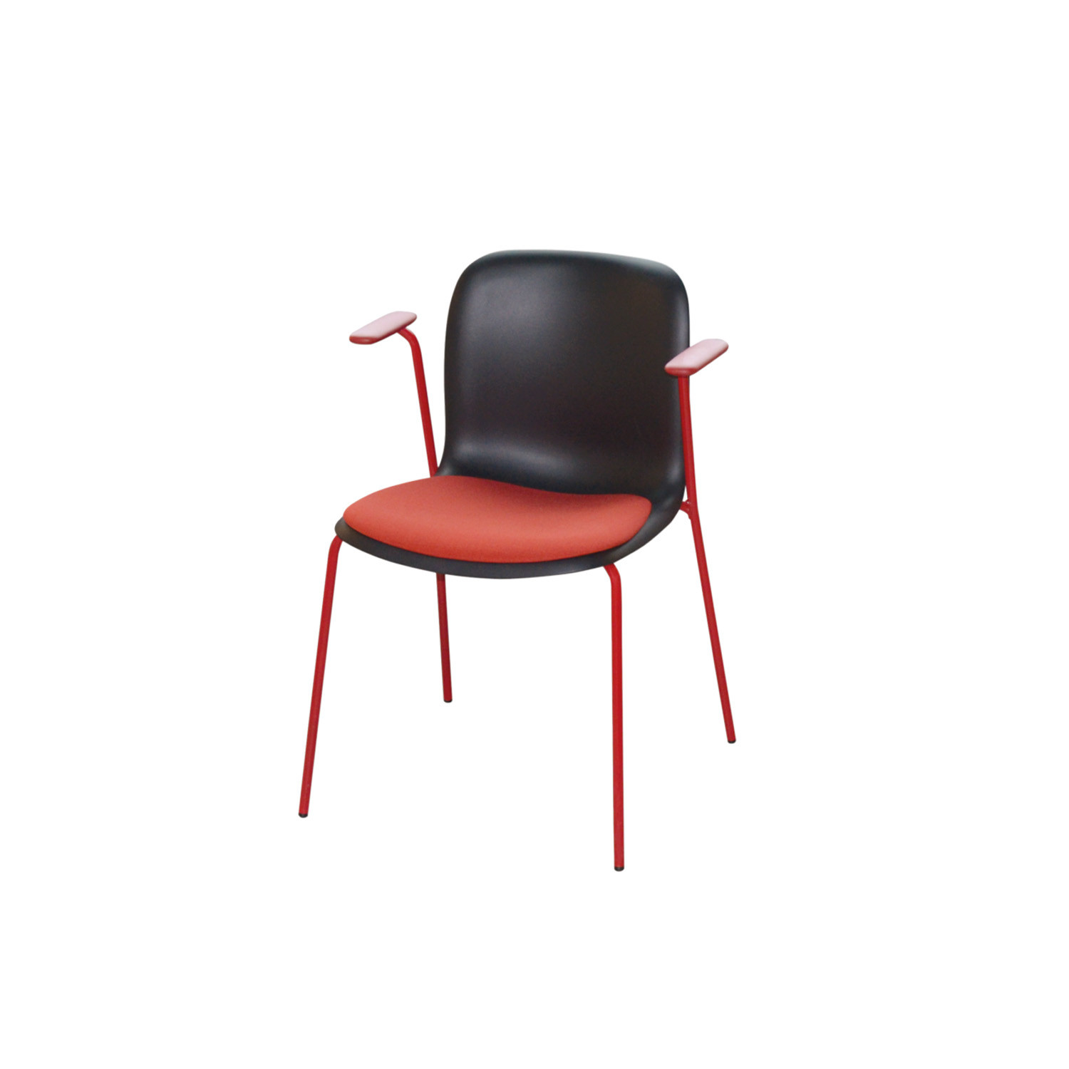 SixE Armchair with upholstered seat pad